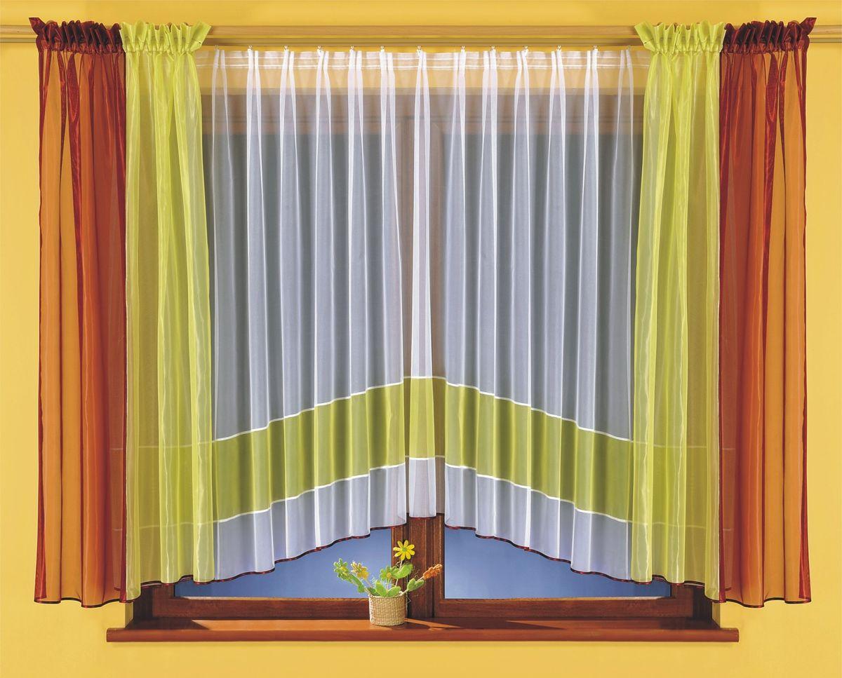 Комплект штор для кухни Wisan Tamara, на ленте, цвет: белый, зеленый, бордовый, высота 170 смS03301004Комплект штор Wisan Tamara выполненный из полиэстера, великолепно украсит кухонное окно. В комплект входят 2 шторы и тюль.Оригинальный и яркий дизайн придают комплекту особый стиль и шарм. Тонкое плетение, нежная цветовая гамма и роскошное исполнение - все это делает шторы Wisan Tamara замечательным дополнением интерьера помещения. Комплект оснащен шторной лентой для красивой сборки. В комплект входит: Тюль - 1 шт. Размер (ШхВ): 400 см х 170 см.Штора - 2 шт. Размер (ШхВ): 140 см х 170 см.Фирма Wisan на польском рынке существует уже более пятидесяти лет и является одной из лучших польских фабрик по производству штор и тканей. Ассортимент фирмы представлен готовыми комплектами штор для гостиной, детской, кухни, а также текстилем для кухни (скатерти, салфетки, дорожки, кухонные занавески). Модельный ряд отличает оригинальный дизайн, высокое качество. Ассортимент продукции постоянно пополняется.