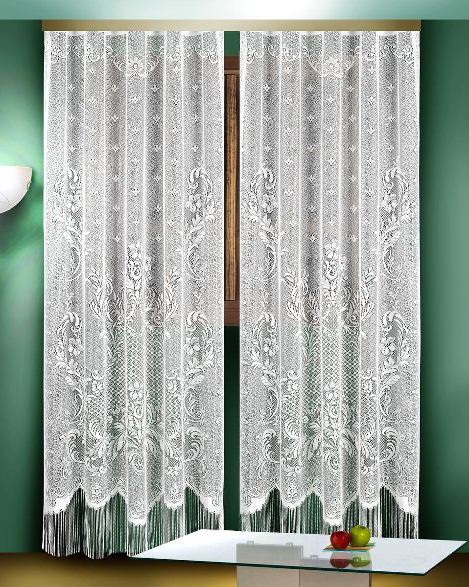Гардина Zlata Korunka,цвет: белый, высота 250 см, 2 шт. 88823S03301004Гардины Zlata Korunka великолепно украсят любое окно в гостиной, спальне или на кухне. В комплекте 2 гардины, выполненные из полиэстера и украшенные красивым цветочным узором. Нижняя часть изделий оформлена бахромой, что придает гардинам особый стиль и шарм. Тонкое плетение, нежная цветовая гамма и роскошное исполнение - все это делает гардины Zlata Korunka замечательным дополнением интерьера комнаты в классическом стиле. В комплект входит: Гардина - 2 шт. Размер одной гардины (ШхВ): 165 см х 250 см.