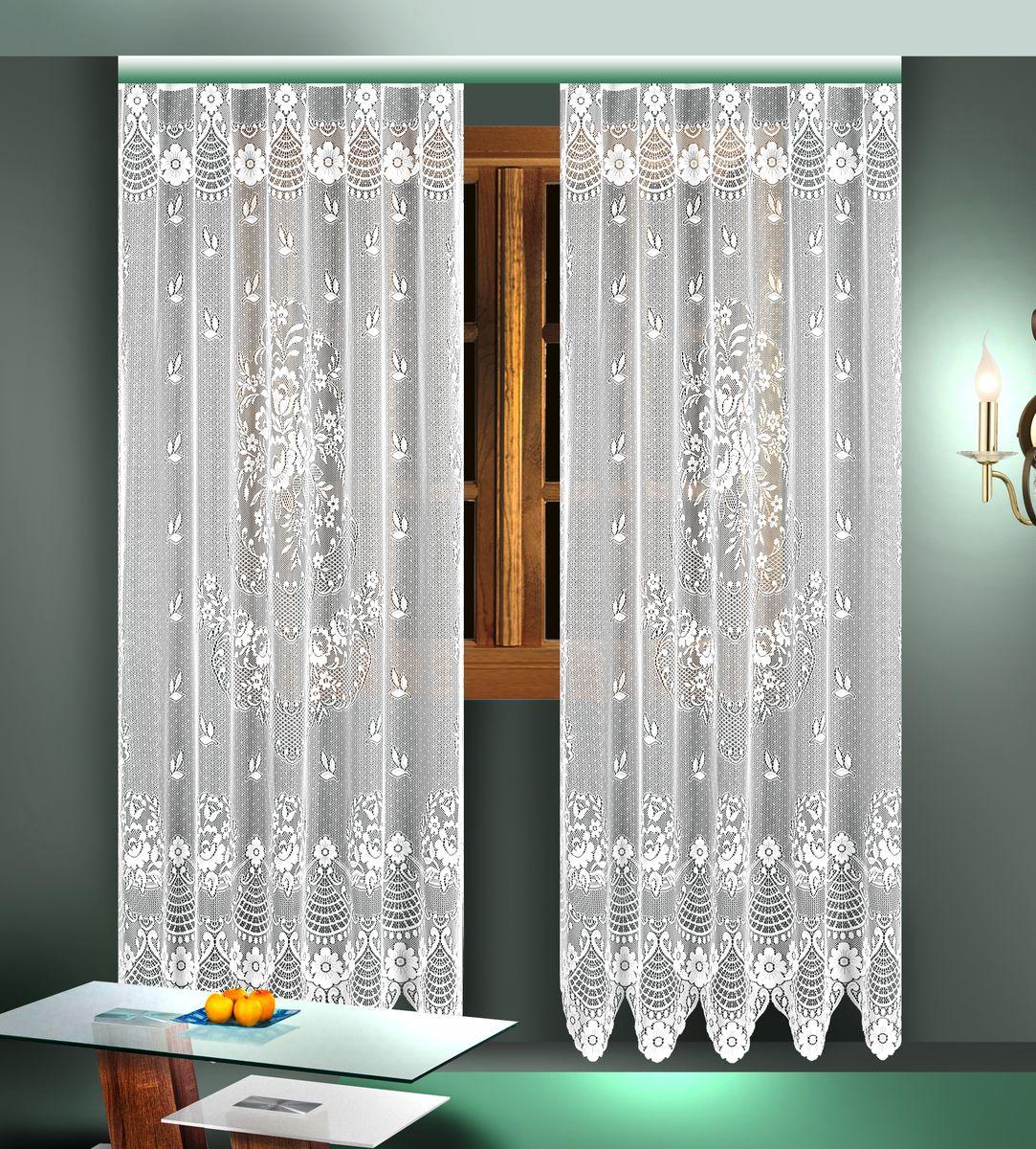 Комплект гардин Zlata Korunka, цвет: белый, высота 245 см. 88824K100Воздушные гардины Zlata Korunka, изготовленные из полиэстера белого цвета, станут великолепным украшением любого окна. Гардины выполнены из сетчатого материала и декорированы цветочным рисунком. Тонкое плетение и оригинальный дизайн привлекут к себе внимание и органично впишутся в интерьер. Верхняя часть гардин не оснащена креплениями.В комплект входит: Гардина - 2 шт. Размер (Ш х В): 165 см х 245 см.