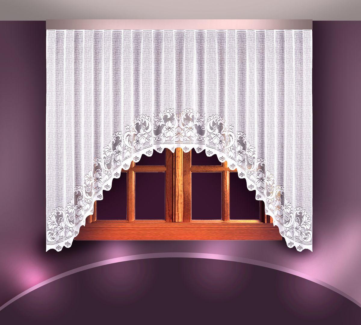 Гардина Zlata Korunka, цвет: белый, высота 180 см. 88831UN111286110Воздушная гардина Zlata Korunka, изготовленная из полиэстера белого цвета, станет великолепным украшением любого окна. Гардина выполнена из сетчатого материала в виде арки и декорирована цветочным узором. Тонкое плетение и оригинальный дизайн привлекут к себе внимание и органично впишутся в интерьер. Верхняя часть гардины не оснащена креплениями.