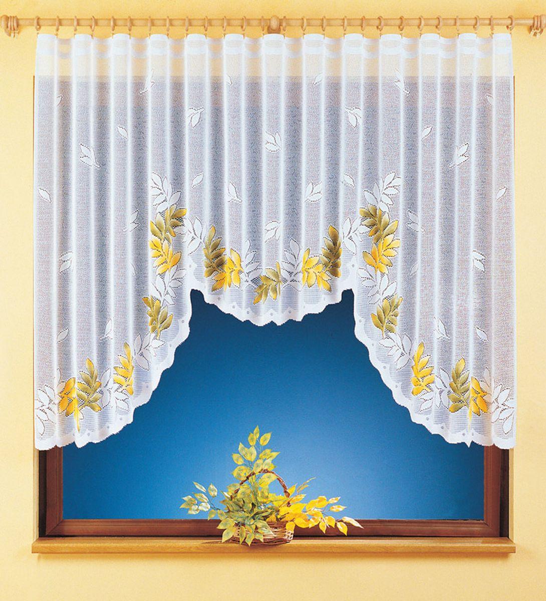 Гардина Wisan Yulia, на ленте, цвет: белый, высота 150 смVCA-00Воздушная гардина Wisan Yulia, изготовленная из полиэстера, станет великолепным украшением любого окна. Изделие украшено ручной раскраской в виде листьев. Оригинальное оформление гардины внесет разнообразие и подарит заряд положительного настроения.Гардина оснащена шторной лентой для крепления на карниз.