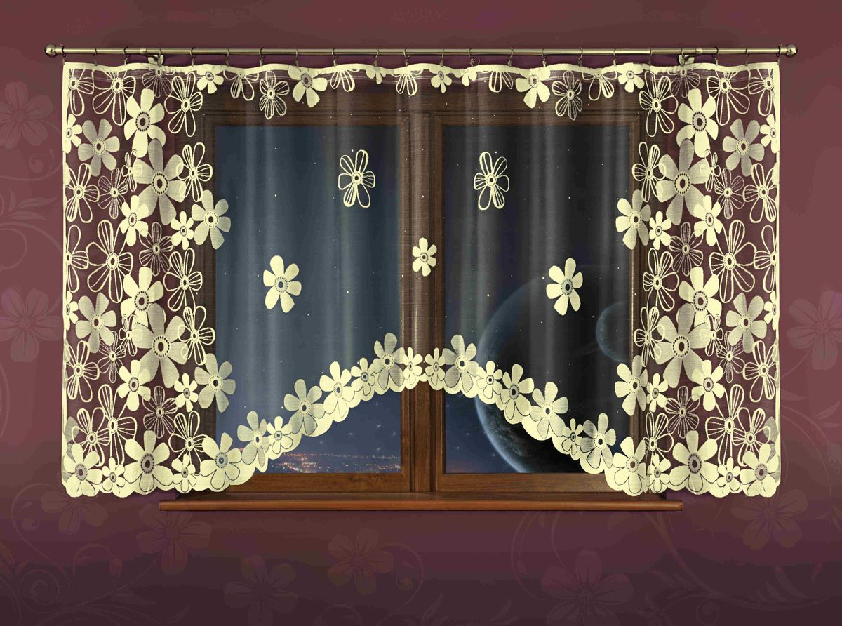 Гардина Wisan Fryda, цвет: бежевый, черный, высота 150 смPANTERA SPX-2RSВоздушная гардина Wisan Fryda изготовленная из полиэстера, легкой, тонкой ткани, станет великолепным украшением любого окна. Оригинальный цветочный принт и приятная цветовая гамма привлекут к себе внимание и органично впишутся в интерьер комнаты. Оригинальное оформление гардины внесет разнообразие и подарит заряд положительного настроения.Верхняя часть гардины не оснащена креплениями.