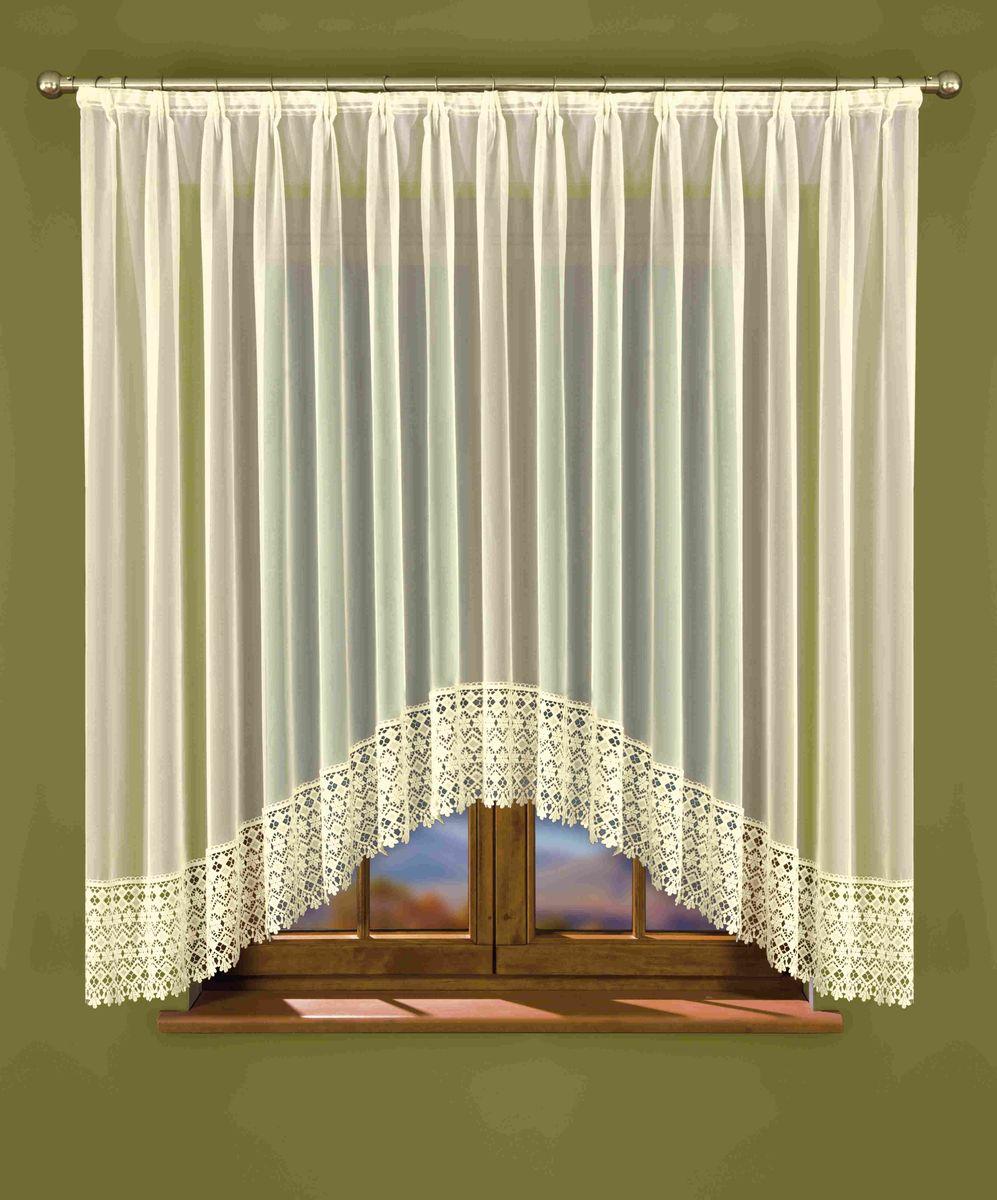 Гардина Wisan Isaura, на ленте, цвет: слоновая кость, высота 160 смС536064V4Гардина Wisan Isaura, изготовлена из полиэстера, легкой, тонкой ткани. Нижняя часть гардины оформлена ажурным орнаментом. Тонкое плетение и оригинальный дизайн привлекут к себе внимание и органично впишутся в интерьер комнаты. Оригинальное оформление гардины внесет разнообразие и подарит заряд положительного настроения.Гардина оснащена шторной лентой для крепления на карниз.