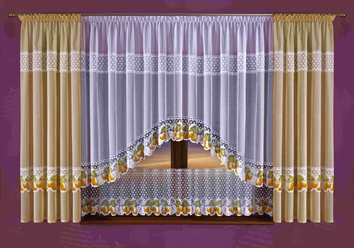 Комплект штор на кухню Wisan Qruszki, на ленте, цвет: бежевый, белый, высота 190 смS03301004Комплект штор Wisan Qruszki выполненный из полиэстера, великолепно украсит окно на кухне. Тонкое плетение, оригинальный дизайн привлекут к себе внимание и органично впишутся в интерьер. Комплект состоит из 2 штор, тюля и нижнего ламбрекена. Кружевной узор с принтом в виде груш придает комплекту особый стиль и шарм. Тонкое жаккардовое плетение, нежная цветовая гамма и роскошное исполнение - все это делает шторы Wisan Qruszki замечательным дополнением интерьера помещения. Все предметы комплекта оснащены шторной лентой для красивой драпировки. В комплект входит: Штора - 2 шт. Размер (ШхВ): 145 см х 190 см. Тюль - 1 шт. Размер (ШхВ): 300 см х 160 см. Нижний ламбрекен - 1 шт. Размер (ШхВ): 300 см х 45 см. Фирма Wisan на польском рынке существует уже более пятидесяти лет и является одной из лучших польских фабрик по производству штор и тканей. Ассортимент фирмы представлен готовыми комплектами штор для гостиной, детской, кухни, а также текстилем для кухни (скатерти, салфетки, дорожки, кухонные занавески). Модельный ряд отличает оригинальный дизайн, высокое качество. Ассортимент продукции постоянно пополняется.