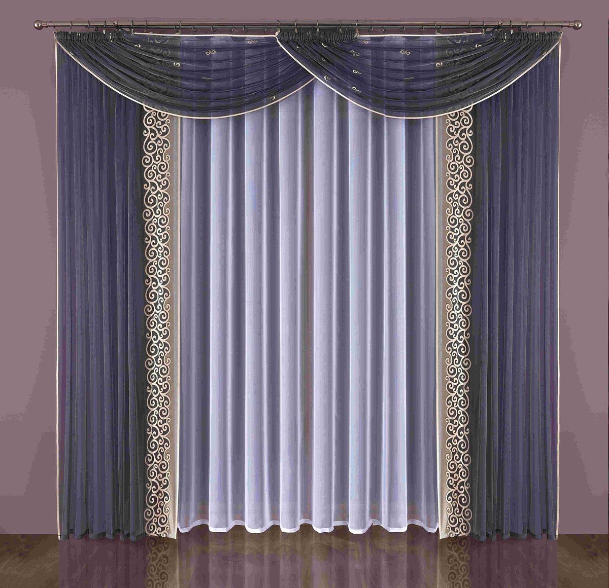 Комплект штор Wisan Brenda, на ленте, цвет: синий, белый, высота 240 смSVC-300Комплект штор Wisan Brenda выполненный из полиэстера, великолепно украсит любое окно. Комплект состоит из 2 штор, тюля и 2 ламбрекенов. Тюль выполнен из органзы, шторы изготовлены из полиэстера тонкого жаккардового плетения. Оригинальный дизайн и контрастная цветовая гамма привлекут к себе внимание и органично впишутся в интерьер комнаты. Все предметы комплекта оснащены шторной лентой для красивой драпировки. В комплект входит: Штора - 2 шт. Размер (ШхВ): 150 см х 240 см. Тюль - 1 шт. Размер (ШхВ): 400 см х 240 см. Ламбрекен - 2 шт. Размер (ШхВ): 180 см х 140 см. Фирма Wisan на польском рынке существует уже более пятидесяти лет и является одной из лучших польских фабрик по производству штор и тканей. Ассортимент фирмы представлен готовыми комплектами штор для гостиной, детской, кухни, а также текстилем для кухни (скатерти, салфетки, дорожки, кухонные занавески). Модельный ряд отличает оригинальный дизайн, высокое качество. Ассортимент продукции постоянно пополняется.