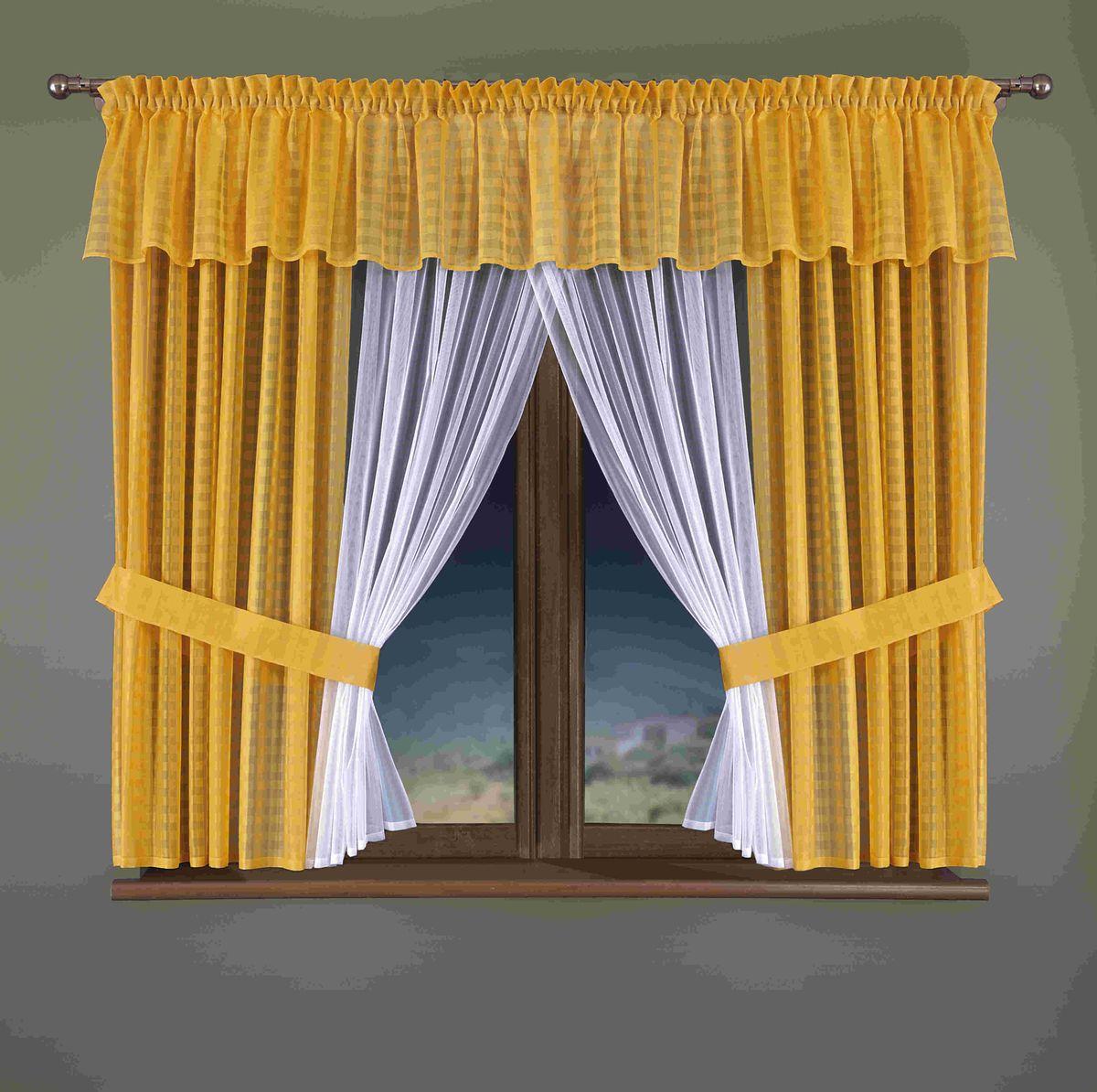 Комплект штор для кухни Wisan Sindi, цвет: белый, желтый, высота 170 смSVC-300Комплект штор Wisan Sindi выполненный из полиэстера, великолепно украсит кухонное окно. Тонкое плетение, оригинальный дизайн привлекут к себе внимание и органично впишутся в интерьер. В комплект входят 2 шторы, тюль, ламбрекен и 2 подхвата. Нежный узор придает комплекту особый стиль и шарм. Тонкое плетение, нежная цветовая гамма и роскошное исполнение - все это делает шторы Wisan Sindi замечательным дополнением интерьера помещения. Комплект оснащен шторной лентой для красивой сборки. В комплект входит: Штора - 2 шт. Размер (ШхВ): 150 см х 170 см. Тюль - 1 шт. Размер (ШхВ): 150 см х 170 см. Ламбрекен - 1 шь. Размер (ШхВ): 400 см х 40 см. Подхват - 2 шт.Фирма Wisan на польском рынке существует уже более пятидесяти лет и является одной из лучших польских фабрик по производству штор и тканей. Ассортимент фирмы представлен готовыми комплектами штор для гостиной, детской, кухни, а также текстилем для кухни (скатерти, салфетки, дорожки, кухонные занавески). Модельный ряд отличает оригинальный дизайн, высокое качество. Ассортимент продукции постоянно пополняется.