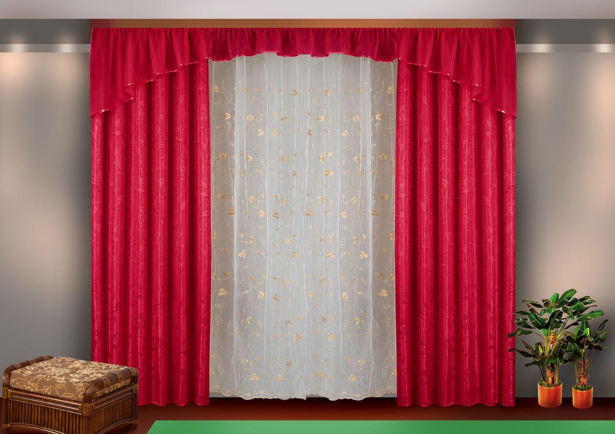 Комплект штор Zlata Korunka, на ленте, цвет: бордовый, высота 250 см. Б113K100Комплект штор Zlata Korunka великолепно украсит любое окно. Комплект состоит из двух портьер, тюля и ламбрекена. Тюль выполнен из органзы и украшен цветочной вышивкой, ламбрекен выполнен из вуалевой ткани, портьеры изготовлены из жаккардовой ткани с изящным узором. Оригинальный дизайн и контрастная цветовая гамма привлекут к себе внимание и органично впишутся в интерьер комнаты. Все предметы комплекта оснащены шторной лентой для красивой драпировки.В комплект входит: Ламбрекен: 1 шт. Размер (Ш х В): 450 см х 45 см. Тюль: 1 шт. Размер (Ш х В): 350 см х 250 см.Штора: 2 шт. Размер (Ш х В): 140 см х 250 см.