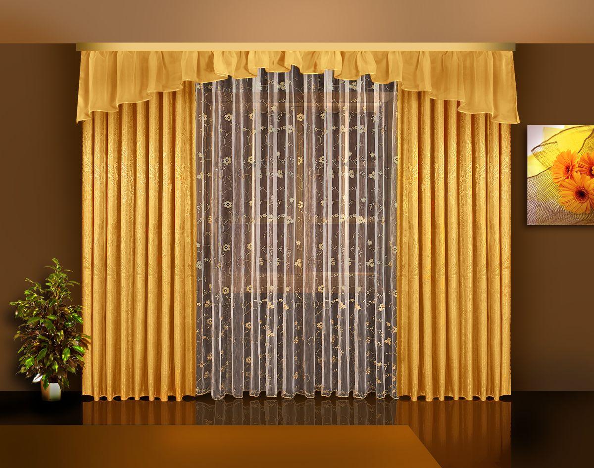 Комплект штор Zlata Korunka, на ленте, цвет: золотой, высота 250 см. Б113K100Комплект штор Zlata Korunka великолепно украсит любое окно. Комплект состоит из двух портьер, тюля и ламбрекена. Тюль выполнен из органзы и украшен цветочной вышивкой, ламбрекен выполнен из вуалевой ткани, портьеры изготовлены из жаккардовой ткани с изящным узором. Оригинальный дизайн и контрастная цветовая гамма привлекут к себе внимание и органично впишутся в интерьер комнаты. Все предметы комплекта оснащены шторной лентой для красивой драпировки.В комплект входит: Ламбрекен: 1 шт. Размер (Ш х В): 450 см х 45 см. Тюль: 1 шт. Размер (Ш х В): 350 см х 250 см.Штора: 2 шт. Размер (Ш х В): 140 см х 250 см.