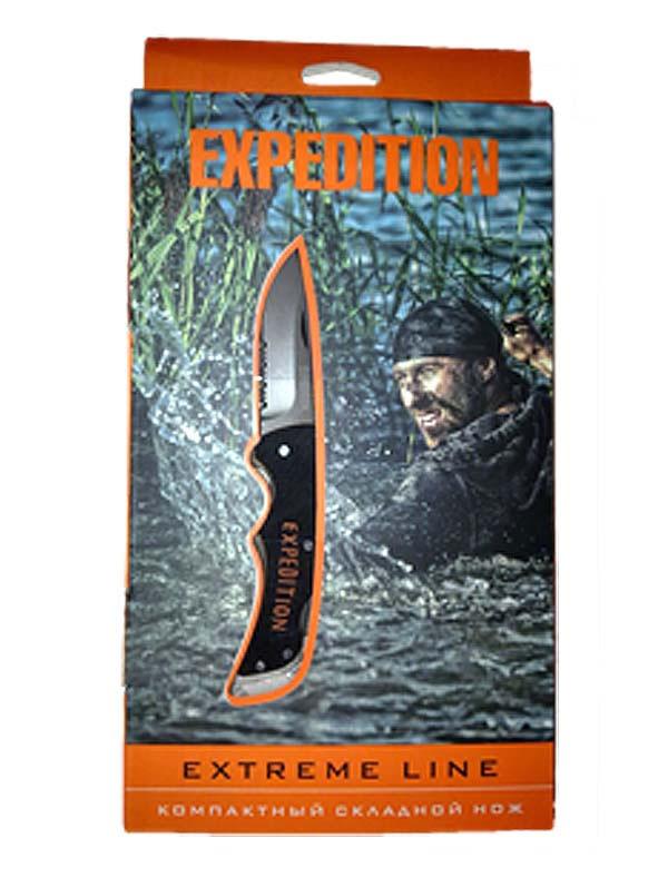 Компактный складной нож Экспедиция Extreme lineS7304Для всех любителей экстримальных путешествий предлагаем компактный складной нож Extreme line. Удобный, многофункциональный, стильный – он пригодится любому мужчине. Изготовлен из нержавеющей стали высочайшего качества, он очень удобен в эксплуатации. В закрытом виде длинна ножа составляет 84,3 мм, что позволит носить его с собой с максимальным комфортом. Отличительные черты:- компактный размер; - оригинальное исполнение; - наличие прикольной упаковки. Марка стали – 440С. Материал рукояти – G10.Общая длина: 14,8 см. В закрытом виде: 8,4 см.Длина лезвия: 6,4 мм.