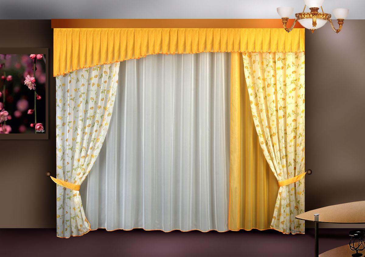 Комплект штор Zlata Korunka, на ленте, цвет: желтый, высота 250 см. Б121307ЕКомплект штор Zlata Korunka великолепно украсит любое окно. Комплект состоит из портьер, тюля и ламбрекена. Для более изящного расположения на окне предусмотрены подхваты.Комплект выполнен из вуалевой ткани нежного оттенка с цветочным рисунком. Оригинальный дизайн и контрастная цветовая гамма привлекут к себе внимание и органично впишутся в интерьер комнаты. Все предметы комплекта оснащены шторной лентой для собирания в сборки.В комплект входит: Ламбрекен: 1 шт. Размер (Ш х В): 300 см х 50 см. Тюль: 1 шт. Размер (Ш х В): 280 см х 250 см.Штора: 3 шт. Размер (Ш х В): 140 см х 250 см.Подхват: 2 шт.