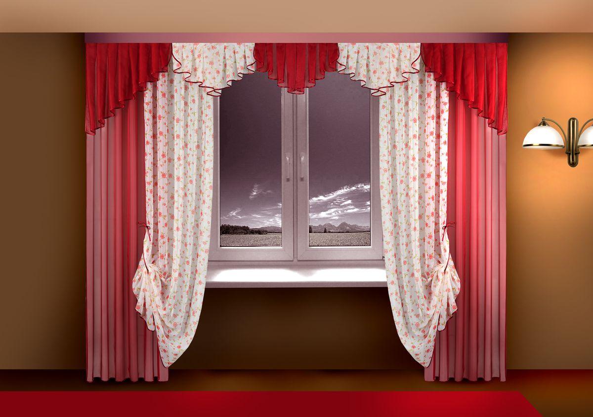 Комплект штор Zlata Korunka, на ленте, цвет: красный, высота 250 см. Б115173WКомплект штор Zlata Korunka великолепно украсит любое окно. Комплект состоит из штор, тюля и ламбрекена. Для более изящного расположения штор предусмотрены подхваты.Комплект выполнен из нежной вуалевой ткани с изящным рисунком. Оригинальный дизайн и контрастная цветовая гамма привлекут к себе внимание и органично впишутся в интерьер комнаты. Все предметы комплекта оснащены шторной лентой для красивой в сборки.В комплект входит: Ламбрекен: 1 шт. Размер (Ш х В): 300 см х 50 см. Штора: 2 шт. Размер (Ш х В): 140 см х 250 см.Тюль: 2 шт. Размер (Ш х В): 140 см х 250 см.Подхват: 2 шт.
