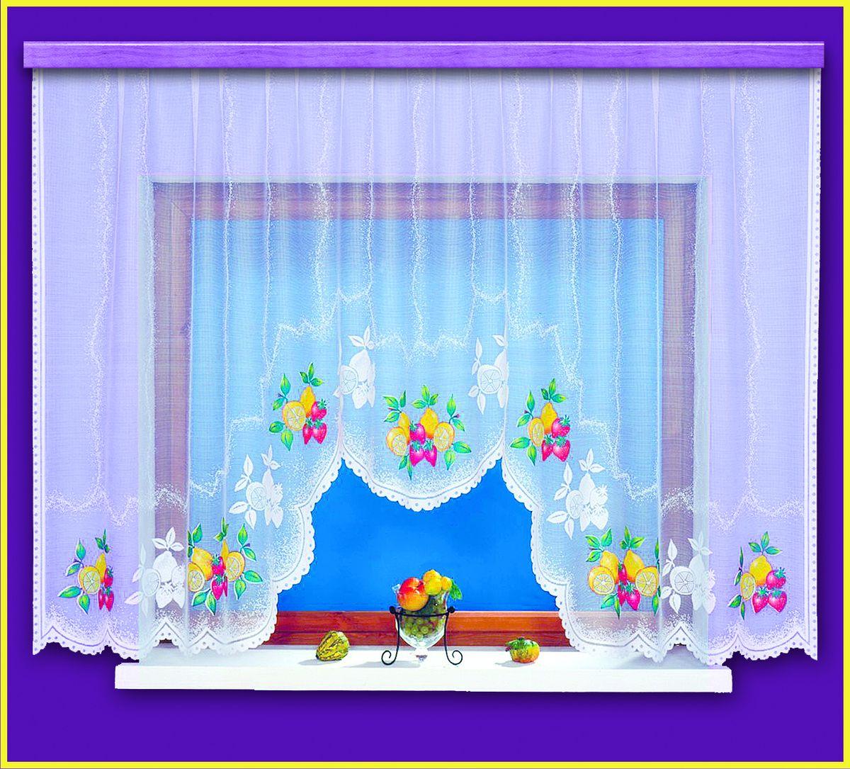 Гардина для кухни Haft Ozdoba Kuchni, цвет: белый, высота 160 см. 99220/160SVC-300Воздушная гардина Haft Ozdoba Kuchni, изготовленная из полиэстера белого цвета, станет великолепным украшением любого окна. Оригинальный фруктовый рисунок, украшающий нижний край гардины, и нежная ажурная фактура материала привлекут к себе внимание и органично впишутся в интерьер комнаты. В гардину вшита шторная лента.Размер гардины: 160 х 300 см.Текстильная компания Haft имеет богатую историю. Основанная в 1878 году в Польше, эта фирма зарекомендовала себя в качестве одного из лидеров текстильной промышленности в Европе. Еще в начале XX века фабрика Haft производила 90% всех текстильных изделий в своей стране, с годами производство расширялось, накопленный опыт позволял наиболее выгодно использовать развивающиеся технологии. Главный ассортимент компании - это тюль и занавески. Haft предлагает готовые решения дляваших окон, выпуская готовые наборы штор, которые остается только распаковать и повесить. Модельный ряд отличает оригинальный дизайн, высокое качество. Занавески, шторы, гардины Haft долговечны, прочны, практически не сминаемы, они не притягивают пыль и за ними легко ухаживать.Вся продукция бренда Haft выполнена на современном оборудовании из лучших материалов.