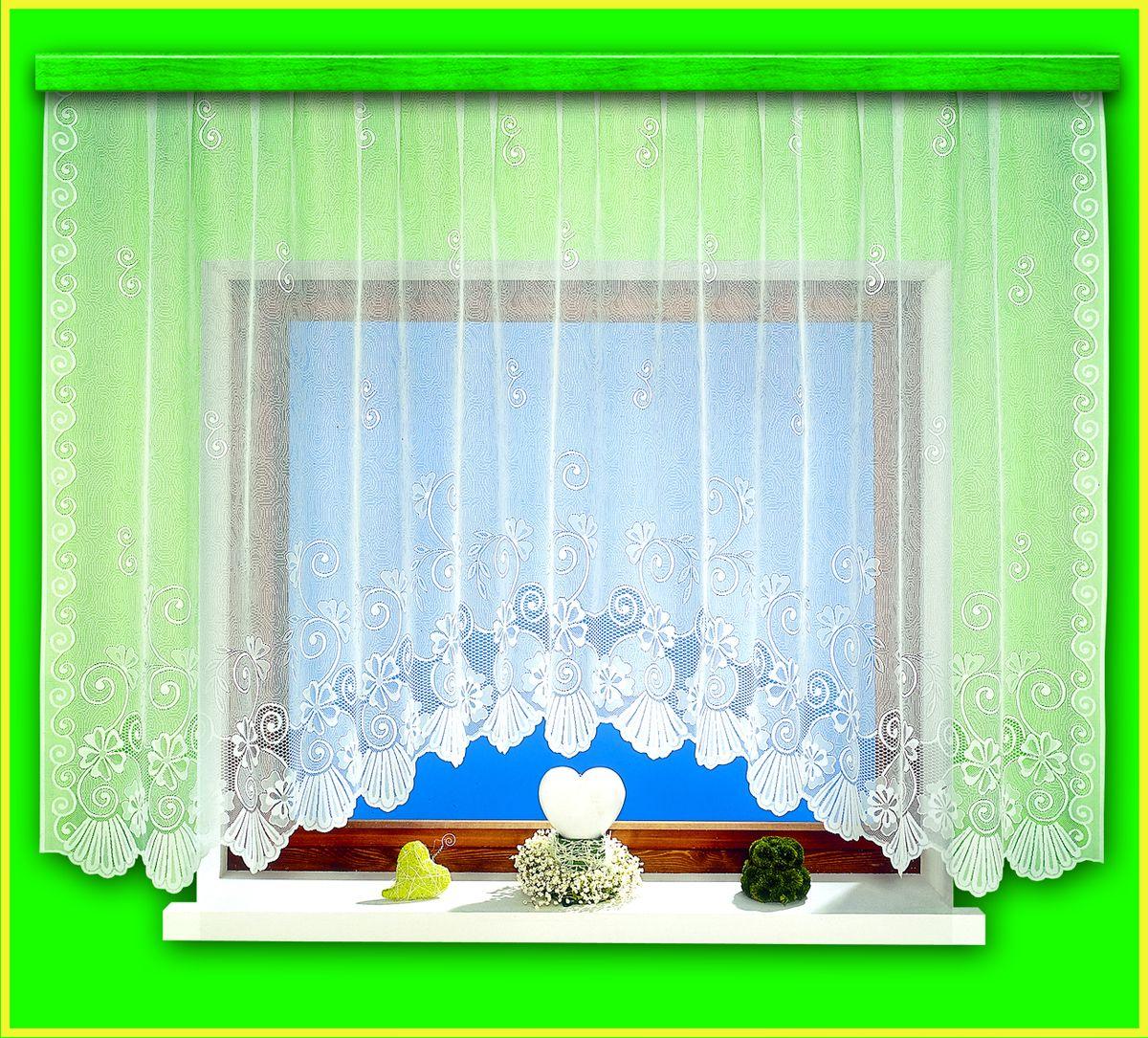 Гардина для кухни Haft Magia Wzorow, на ленте, цвет: белый, высота 160 см. 94090/160335WВоздушная гардина Haft Magia Wzorow, изготовленная из полиэстера белого цвета, станет великолепным украшением любого окна. Оригинальный цветочный орнамент, украшающий нижний край гардины, и нежная ажурная фактура материала привлекут к себе внимание и органично впишутся в интерьер комнаты. В гардину вшита шторная лента.Размер гардины: 160 см х 300 см.Главный ассортимент компании Haft - это тюль и занавески. Haft предлагает готовые решения для ваших окон, выпуская готовые наборы штор, которые остается только распаковать и повесить. Модельный ряд отличает оригинальный дизайн, высокое качество. Занавески, шторы, гардины Haft долговечны, прочны, практически не сминаемы, они не притягивают пыль и за ними легко ухаживать. Вся продукция бренда Haft выполнена на современном оборудовании из лучших материалов.