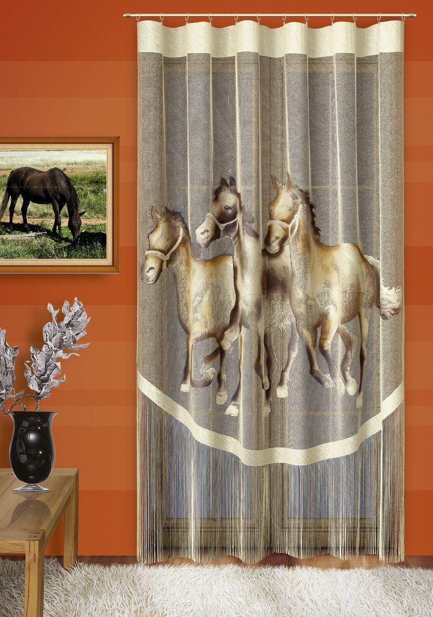 Гардина-панно Wisan Лошади, на ленте, цвет: кремовый, высота 250 см087WВоздушная гардина-панно Wisan Лошади, изготовленная из полиэстера, станет великолепным украшением любого окна. Изделие оформлено изображением лошадей и бахромой. Оригинальное оформление и приятная цветовая гамма изделия привлекут к себе внимание и органично впишутся в интерьер комнаты. Гардина-панно оснащено шторной лентой для крепления на карниз.