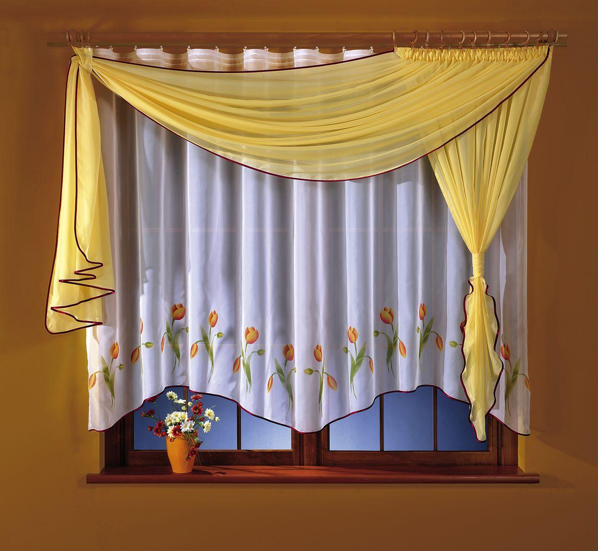 Комплект штор для кухни Wisan Marzenka, на ленте, цвет: белый, желтый, высота 180 см264WКомплект штор для кухни Wisan Marzenka выполненный из полиэстера, великолепно украсит любое окно. В комплект входят тюль, ламбрекен и 2 подвяза.Оригинальный и яркий дизайн придают комплекту особый стиль и шарм. Качественный материал, нежная цветовая гамма и роскошное исполнение - все это делает шторы Wisan Marzenka замечательным дополнением интерьера помещения.Комплект оснащен шторной лентой для красивой сборки. В комплект входит: Тюль - 1 шт. Размер (ШхВ): 160 см х 170 см. Ламбрекен - 1 шт. Размер (ШхВ): 50 см х 180 см. Подвяз - 2 шт.Фирма Wisan на польском рынке существует уже более пятидесяти лет и является одной из лучших польских фабрик по производству штор и тканей. Ассортимент фирмы представлен готовыми комплектами штор для гостиной, детской, кухни, а также текстилем для кухни (скатерти, салфетки, дорожки, кухонные занавески). Модельный ряд отличает оригинальный дизайн, высокое качество. Ассортимент продукции постоянно пополняется.
