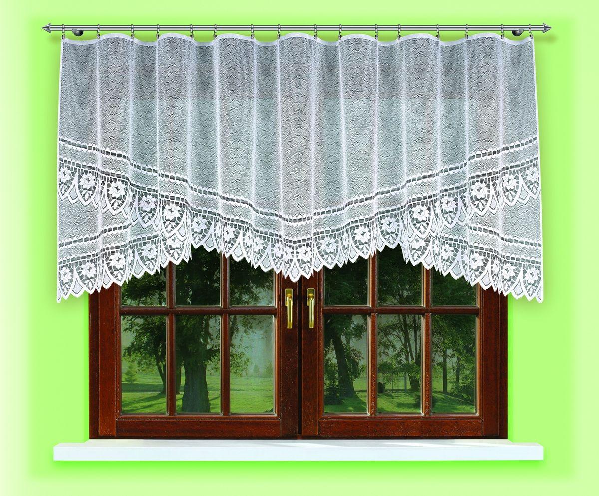 Гардина для кухни Haft Magia Wzorow, на ленте, цвет: белый, высота 135 см. 54620/135