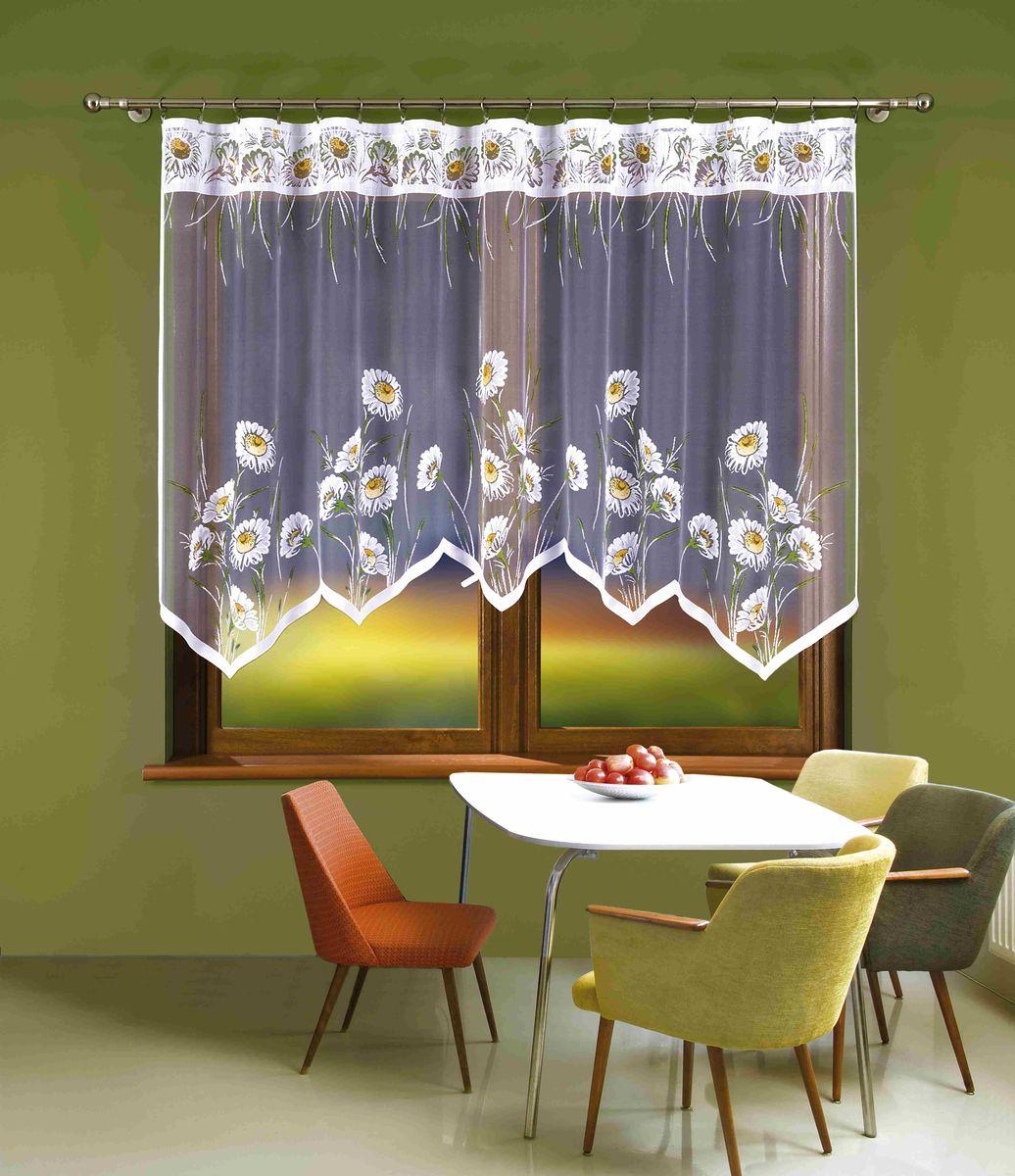 Гардина Wisan Klementynka, цвет: белый, зеленый, высота 140 см264WВоздушная гардина Wisan Klementynka, изготовленная из полиэстера, станет великолепным украшением любого окна. Оригинальный принт в виде цветочков и приятная цветовая гамма привлекут к себе внимание и органично впишутся в интерьер комнаты. Оригинальное оформление гардины внесет разнообразие и подарит заряд положительного настроения.Верхняя часть гардины не оснащена креплениями.