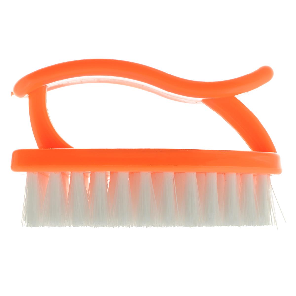 Щетка Home Queen Утюг, универсальная, цвет: оранжевый. 89531-105Щетка Home Queen Утюг, выполненная из полипропилена, является универсальной щеткой для очистки поверхностей ванной комнаты и кухни. Изделие оснащено удобной ручкой.Длина щетины: 2 см.