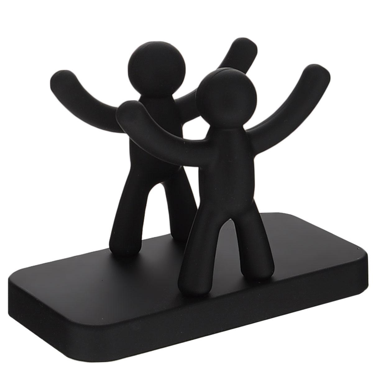 Салфетница Umbra Buddy, цвет: черный115610Салфетница Umbra Buddy, изготовленная из высококачественной полипропилена с покрытием Soft-touch, оформлена двумя фигурками человечков с поднятыми вверх руками. Салфетница оригинального дизайна украсит кухонный стол.