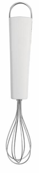 Венчик Brabantia, малый. 40028554 009312Венчик Brabantia, изготовленный из качественной стали, поможет вам с легкостью смешать и взбить заправку, крем или тесто. Ручка изделия выполнена из белого пластика и оснащена небольшой петелькой, за которую венчик можно подвесить в любом удобном для вас месте. Практичный и удобный венчик Brabantia займет достойное место среди аксессуаров на вашей кухне. Характеристики:Материал: пластик, сталь. Длина венчика: 19 см. Ширина рабочей части: 3,5 см. Артикул: 400285. Гарантия производителя: 5 лет.