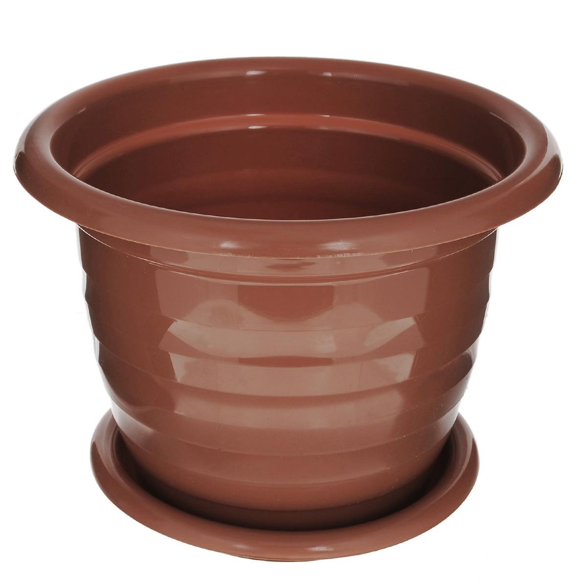 Горшок для цветов Альтернатива Виола, с поддоном, цвет: коричневый, 3,5 л, диаметр 22,5 см4840952005267Цветочный горшок Альтернатива Виола выполнен из пластика и предназначен для выращивания в нем цветов, растений и трав.Такой горшок порадует вас современным дизайном и функциональностью, а также оригинально украсит интерьер помещения. К горшку прилагается поддон.