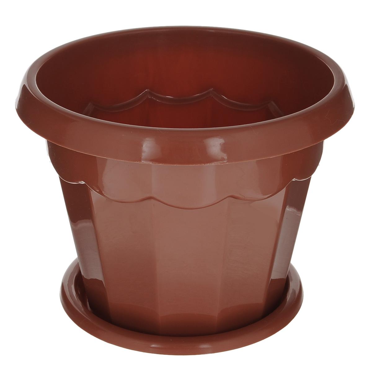 Горшок для цветов Альтернатива Гармония, с поддоном, цвет: коричневый, 2,5 л, диаметр 18,5 см4840952005328Цветочный горшок Альтернатива Гармония выполнен из пластика предназначен для выращивания в нем цветов, растений и трав.Такой горшок порадует вас современным дизайном и функциональностью, а также оригинально украсит интерьер помещения. К горшку прилагается поддон.