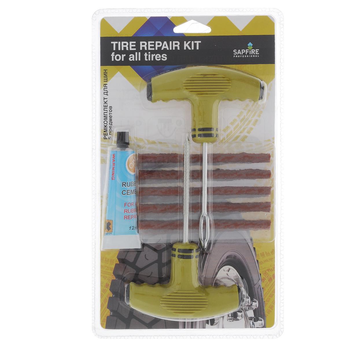Ремкомплект для шин Sapfire, 5 предметовCRC-101258/1TPAA00001Ремкомплект Sapfire предназначен для оперативного ремонта прокола колеса в дороге и дает возможность доехать до шиномонтажного центра.В набор входят рашпиль и шило с ушком с удобными Т-образными ручками, цемент резины — 12 мл и 10 резиновых жгутов.