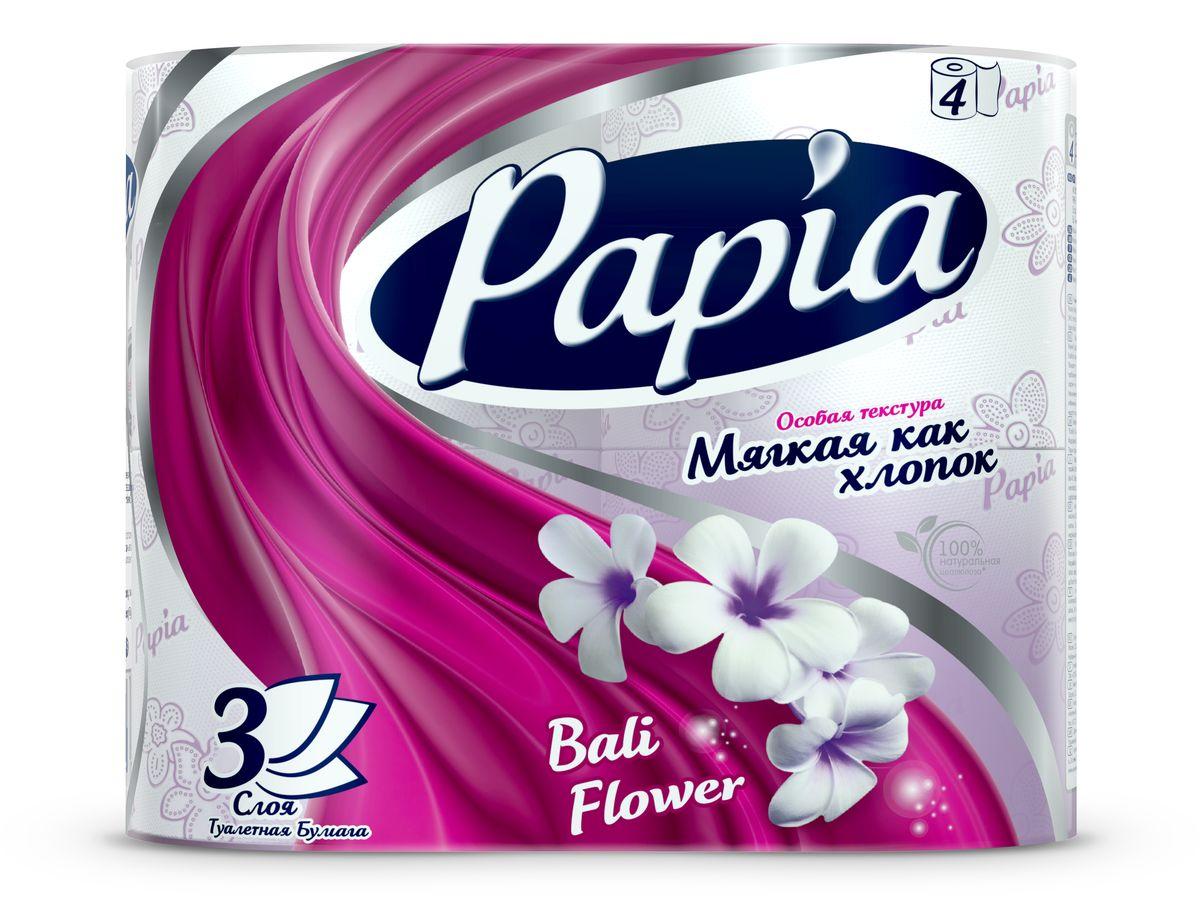 Туалетная бумага Papia Bali Flower ароматизированная, трехслойная, цвет: белый, 4 рулонаKOC-H19-LEDТрехслойная туалетная бумага Papia Bali Flower изготовлена из целлюлозы высшего качества. Листы оформлены тисненым рисунком в виде цветов и надписи Papia. Мягкая, нежная, но в тоже время прочная, бумага не расслаивается и отрывается строго по линии перфорации. Бумага ароматизирована.Туалетная бумага Papia Bali Flower предназначена для тех, кто хочет, чтобы ванная была самая уютная на свете, а нежный аромат балийского цветка поднимет вам настроение.Товар сертифицирован.Материал: 100% целлюлоза.Количество листов (в одном рулоне): 140 шт.Количество слоев: 3.Размер листа: 9,5 см х 12 см.Длина рулона: 16,8 м.