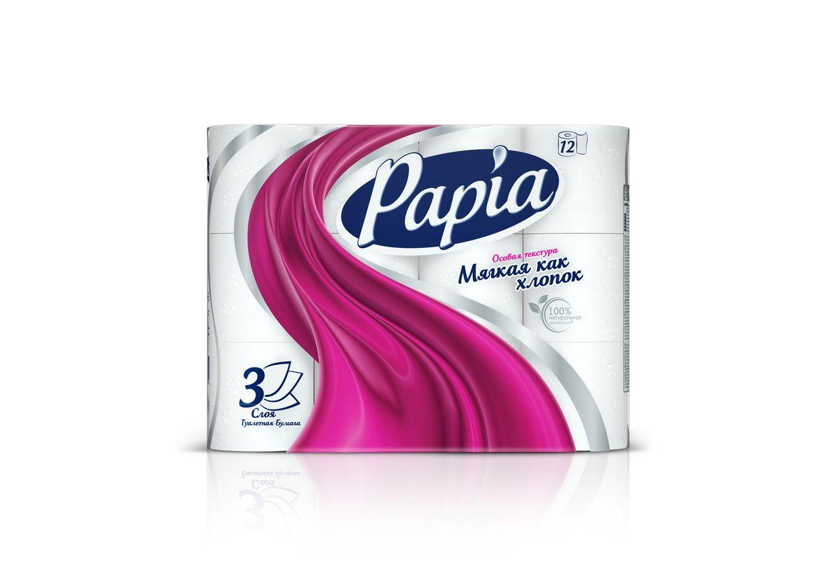 Туалетная бумага Papia, трехслойная, цвет: белый, 12 рулонов391602Трехслойная туалетная бумага Papia изготовлена из целлюлозы высшего качества. Листы белого цвета оформлены тисненым рисунком в виде цветов и надписи Papia. Мягкая, нежная, но в тоже время прочная, бумага не расслаивается и отрывается строго по линии перфорации. Бумага не ароматизирована.Туалетная бумага Papia предназначена для тех, кто хочет, чтобы ванная была самая уютная на свете.Товар сертифицирован. Материал: 100% целлюлоза. Количество листов (в одном рулоне): 140 шт. Количество слоев: 3. Размер листа: 9,5 см х 12 см. Длина рулона: 16,8 м.