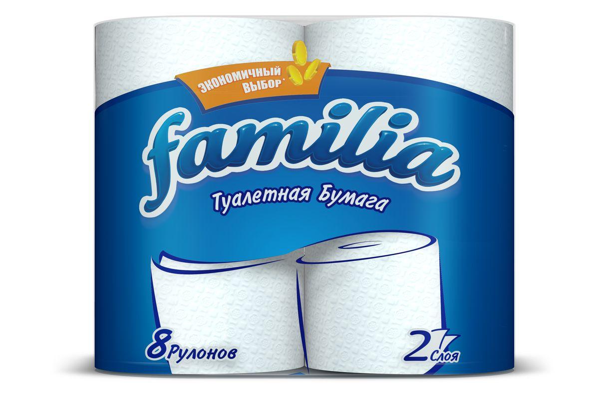 Туалетная бумага Familia, двухслойная, цвет: белый, 8 рулонов787502Двухслойная туалетная бумага Familia изготовлена из целлюлозы высшего качества. Листы оформлены тисненым рисунком в виде цветов. Мягкая, нежная, но в тоже время прочная, бумага не расслаивается и отрывается строго по линии перфорации. Бумага неароматизированная.Туалетная бумага Familia предназначена для тех, кто хочет, чтобы ванная была самая уютная на свете.Товар сертифицирован.Материал: 100% целлюлоза.Количество листов (в одном рулоне): 150 шт.Количество слоев: 2.Размер листа: 9,5 см х 12 см.Длина рулона: 18 м.