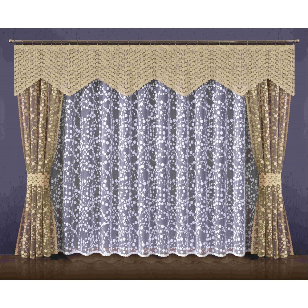 Комплект штор Wisan Jowita, на ленте, цвет: бежевый, белый, высота 250 смС 9144 - W260 - W1687 V13Комплект штор Wisan Jowita выполненный из полиэстера, великолепно украсит любое окно. Комплект состоит из 2 штор, тюля, ламбрекена и 2 подхватов. Кружевной узор придает комплекту особый стиль и шарм. Тонкое жаккардовое плетение, нежная цветовая гамма и роскошное исполнение - все это делает шторы Wisan Jowita замечательным дополнением интерьера помещения.Все предметы комплекта оснащены шторной лентой для красивой драпировки.В комплект входит: Штора - 2 шт. Размер (ШхВ): 145 см х 250 см. Тюль - 1 шт. Размер (ШхВ): 400 см х 250 см. Ламбрекен - 1 шт. Размер (ШхВ): 320 см х 60 см. Подхват - 2 шт.Фирма Wisan на польском рынке существует уже более пятидесяти лет и является одной из лучших польских фабрик по производству штор и тканей. Ассортимент фирмы представлен готовыми комплектами штор для гостиной, детской, кухни, а также текстилем для кухни (скатерти, салфетки, дорожки, кухонные занавески). Модельный ряд отличает оригинальный дизайн, высокое качество. Ассортимент продукции постоянно пополняется.