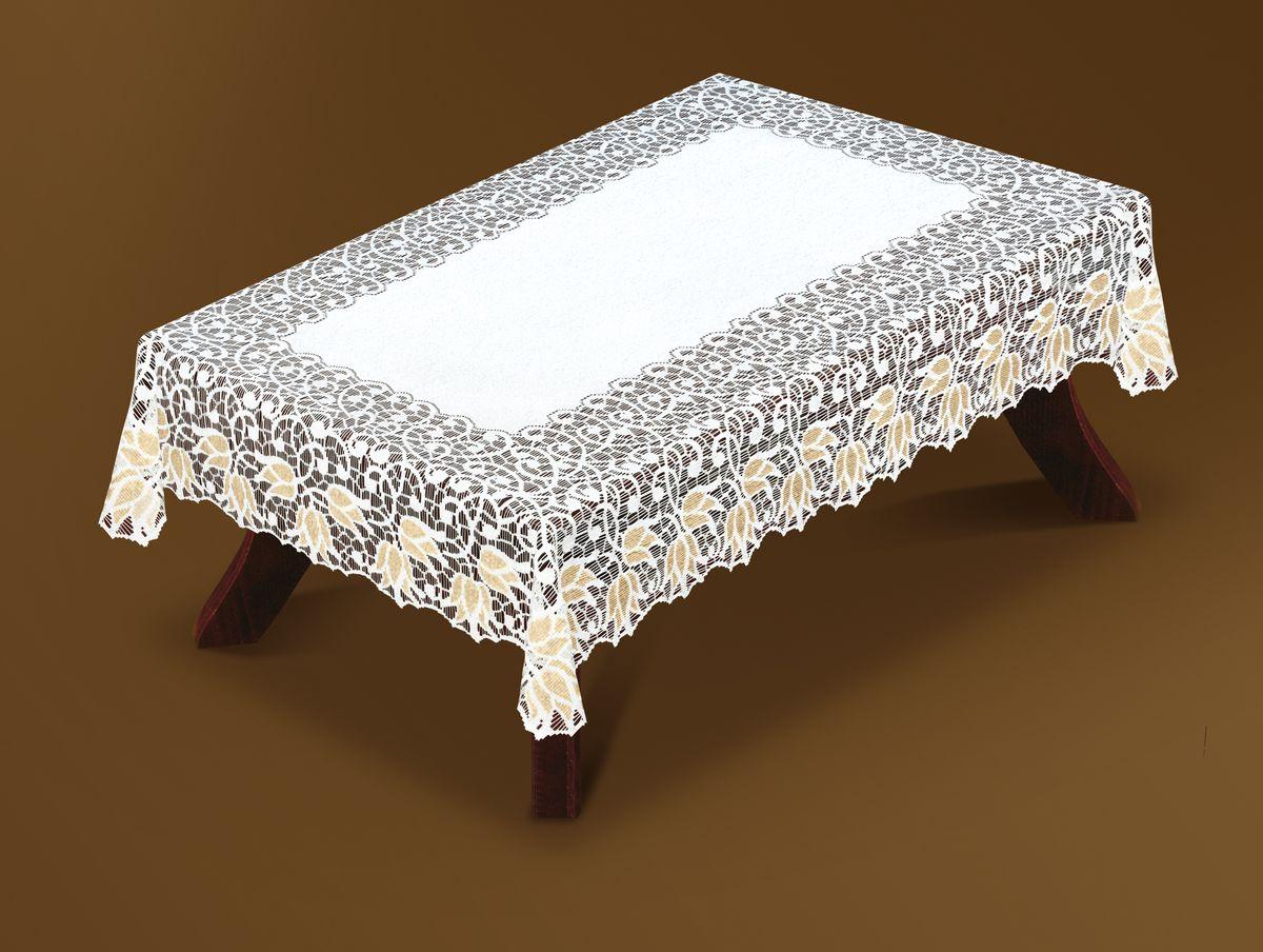 Скатерть Haft Gold Line, прямоугольная, цвет: белый, золотистый, 120x 160 см. 221070/120NLC.48.01.B13Великолепная прямоугольная скатерть Haft Gold Line, выполненная из полиэстера, органично впишется в интерьер любого помещения, а оригинальный дизайн удовлетворит даже самый изысканный вкус. Скатерть изготовлена из сетчатого материала с ажурным цветочным рисунком по краям. Края скатерти ажурные.Скатерть Haft Gold Line создаст праздничное настроение и станет прекрасным дополнением интерьера гостиной, кухни или столовой.