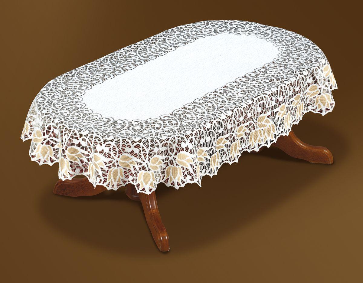 Скатерть Haft Gold Line, овальная, цвет: белый, золотистый, 120x 160 см. 221071/120VT-1520(SR)Великолепная овальная скатерть Haft Gold Line, выполненная из полиэстера, органично впишется в интерьер любого помещения, а оригинальный дизайн удовлетворит даже самый изысканный вкус. Скатерть изготовлена из сетчатого материала с ажурным цветочным рисунком по краям. Края скатерти ажурные.Скатерть Haft Gold Line создаст праздничное настроение и станет прекрасным дополнением интерьера гостиной, кухни или столовой.