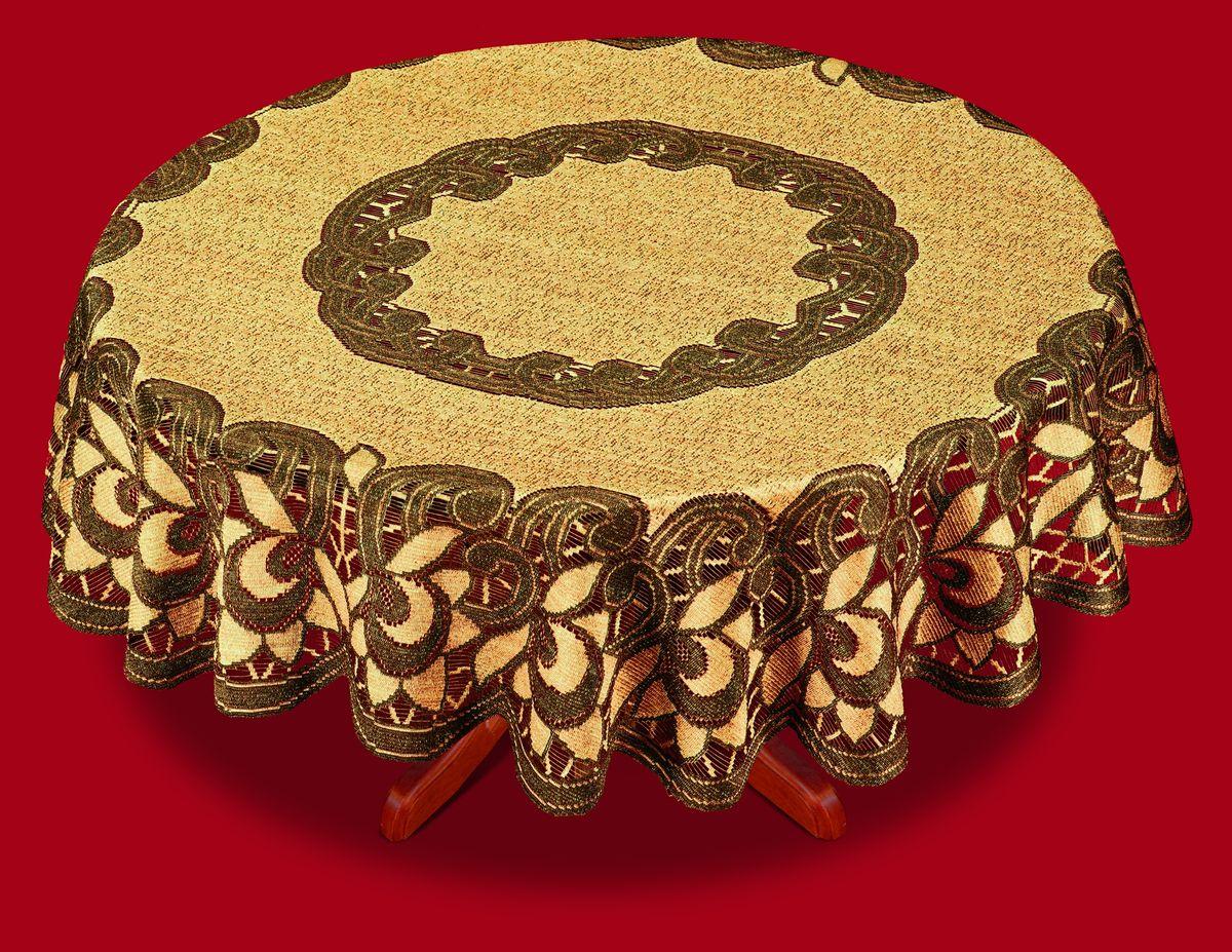 Скатерть Haft, цвет: оранжевый, коричневый, диаметр 150 см38783-150 корич.Великолепная круглая скатерть Haft, выполненная из полиэстера, органично впишется в интерьер любого помещения, а оригинальный дизайн удовлетворит даже самый изысканный вкус. Скатерть изготовлена из сетчатого материала с ажурным цветочным рисунком. Скатерть Haft создаст праздничное настроение и станет прекрасным дополнением интерьера гостиной, кухни или столовой.Диаметр скатерти: 150 см.
