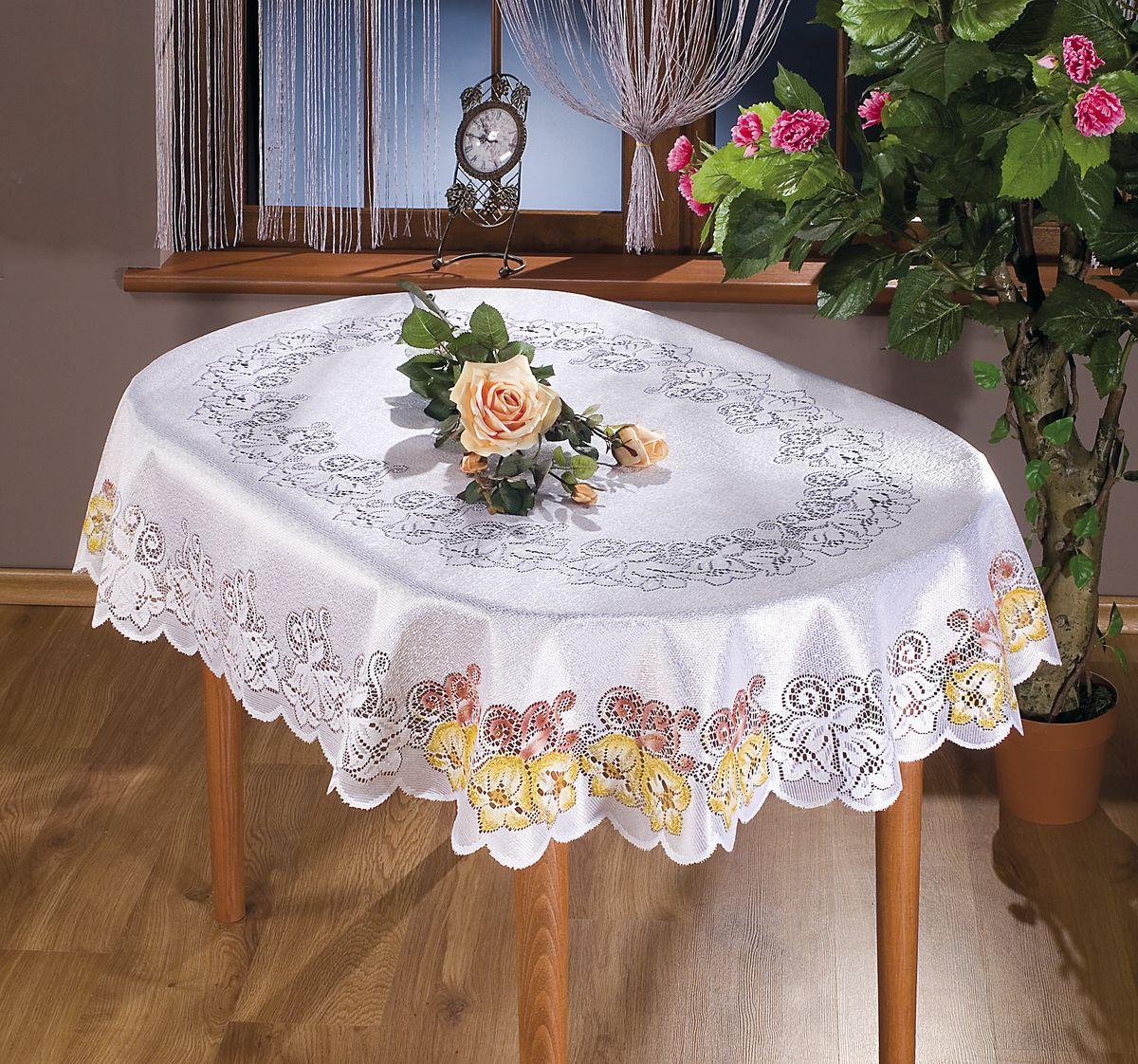 Скатерть Wisan Amadeusz, овальная, цвет: белый, 130x 170 см. 8861VT-1520(SR)Великолепная овальная скатерть Wisan Amadeusz органично впишется в интерьер любого помещения, а оригинальный дизайн удовлетворит даже самый изысканный вкус. Изделие выполнено из полиэстера и украшено изящным ажурным цветочным рисунком. Скатерть поможет создать атмосферу уюта и домашнего тепла в интерьере вашей кухни или комнаты, а также станет настоящим украшением праздничного стола.