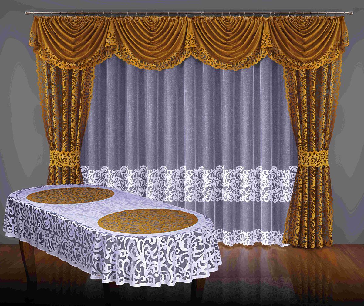 Комплект штор Wisan Modena, на ленте, цвет: золотой, белый, высота 250 смS03301004Комплект штор Wisan Modena выполненный из полиэстера, великолепно украсит любое окно. Тонкое плетение, оригинальный дизайн привлекут к себе внимание и органично впишутся в интерьер. В комплект входят 2 шторы, тюль, ламбрекен и 2 подхвата. Кружевной узор придает комплекту особый стиль и шарм. Тонкое жаккардовое плетение, нежная цветовая гамма и роскошное исполнение - все это делает шторы Wisan Modena замечательным дополнением интерьера помещения. Комплект оснащен шторной лентой для красивой сборки. В комплект входит: Штора - 2 шт. Размер (ШхВ): 145 см х 250 см. Тюль - 1 шт. Размер (ШхВ): 400 см х 250 см. Ламбрекен - 1 шт. Размер (ШхВ): 350 см х 55 см.Подхваты - 2 шт. Фирма Wisan на польском рынке существует уже более пятидесяти лет и является одной из лучших польских фабрик по производству штор и тканей. Ассортимент фирмы представлен готовыми комплектами штор для гостиной, детской, кухни, а также текстилем для кухни (скатерти, салфетки, дорожки, кухонные занавески). Модельный ряд отличает оригинальный дизайн, высокое качество. Ассортимент продукции постоянно пополняется.УВАЖАЕМЫЕ КЛИЕНТЫ! Обращаем ваше внимание, что в комплектацию товара входит только комплект штор, остальные предметы служат лишь для визуального восприятия товара.
