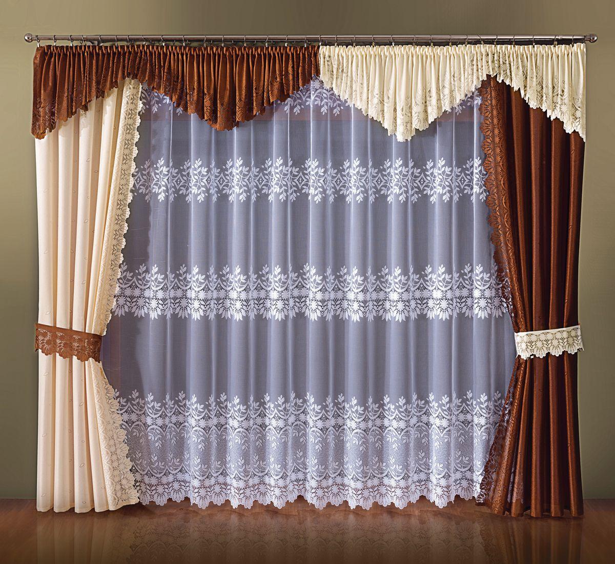 Комплект штор Wisan Cappuccino, на ленте, цвет: коричневый, кремовый, высота 250 см046WКомплект штор Wisan Cappuccino выполненный из полиэстера, великолепно украсит любое окно. Тонкое плетение, оригинальный дизайн привлекут к себе внимание и органично впишутся в интерьер. Комплект состоит из 2 штор, тюля, ламбрекена и 2 подхватов. Кружевной узор придает комплекту особый стиль и шарм. Тонкое жаккардовое плетение, нежная цветовая гамма и роскошное исполнение - все это делает шторы Wisan Cappuccino замечательным дополнением интерьера помещения. Все предметы комплекта оснащены шторной лентой для красивой драпировки. В комплект входит: Штора - 2 шт. Размер (ШхВ): 145 см х 250 см. Тюль - 1 шт. Размер (ШхВ): 400 см х 250 см. Ламбрекен - 1 шт. Размер (ШхВ): 800 см х 50 см.Подхваты - 2 шт. Фирма Wisan на польском рынке существует уже более пятидесяти лет и является одной из лучших польских фабрик по производству штор и тканей. Ассортимент фирмы представлен готовыми комплектами штор для гостиной, детской, кухни, а также текстилем для кухни (скатерти, салфетки, дорожки, кухонные занавески). Модельный ряд отличает оригинальный дизайн, высокое качество. Ассортимент продукции постоянно пополняется.