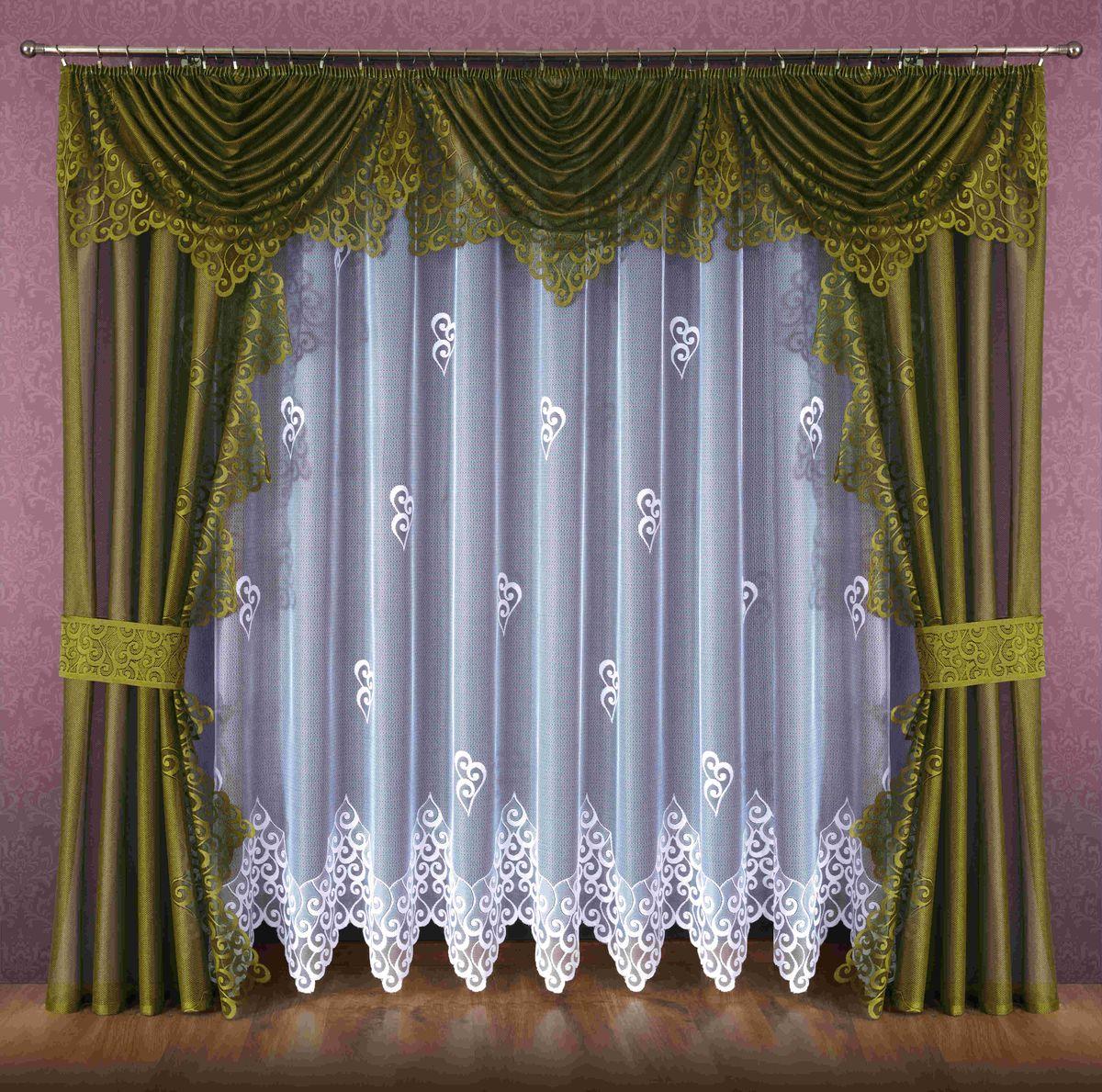 Комплект штор Wisan Ludmila, на ленте, цвет: белый, оливковый, высота 250 смSVC-300Комплект штор Wisan Ludmila выполненный из полиэстера, великолепно украсит любое окно. В комплект входят 2 шторы, тюль, ламбрекен и 2 подхвата. Кружевной орнамент придает комплекту особый стиль и шарм. Тонкое плетение, нежная цветовая гамма и роскошное исполнение - все это делает шторы Wisan Ludmila замечательным дополнением интерьера помещения.Комплект оснащен шторной лентой для красивой сборки. В комплект входит: Штора - 2 шт. Размер (ШхВ): 140 см х 250 см.Тюль - 1 шт. Размер (ШхВ): 400 см х 250 см. Ламбрекен - 1 шт. Размер (ШхВ): 440 см х 135 см. Подхват - 2 шт.Фирма Wisan на польском рынке существует уже более пятидесяти лет и является одной из лучших польских фабрик по производству штор и тканей. Ассортимент фирмы представлен готовыми комплектами штор для гостиной, детской, кухни, а также текстилем для кухни (скатерти, салфетки, дорожки, кухонные занавески). Модельный ряд отличает оригинальный дизайн, высокое качество. Ассортимент продукции постоянно пополняется.