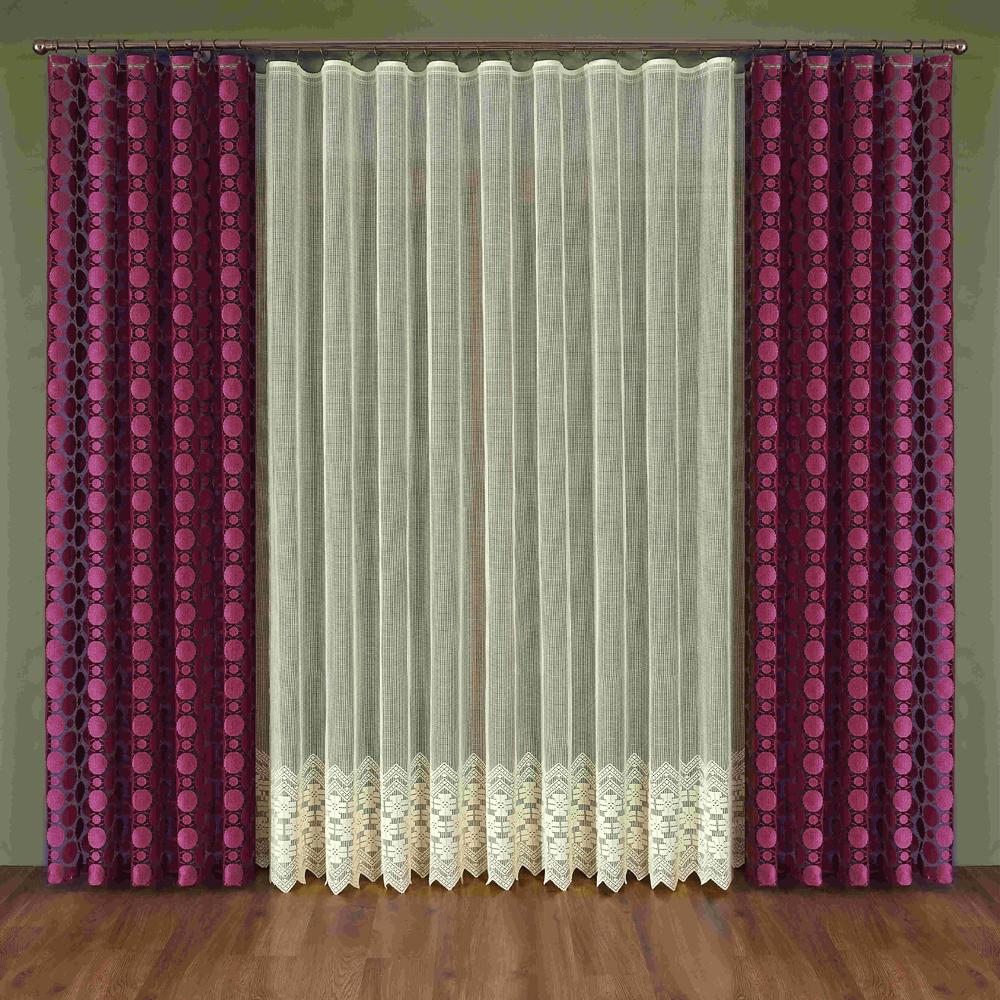 Комплект штор Wisan Maura, на ленте, цвет: бордовый, бежевый, высота 250 смS03301004Комплект штор Wisan Maura выполненный из полиэстера, великолепно украсит любое окно. Тонкое плетение, оригинальный дизайн привлекут к себе внимание и органично впишутся в интерьер. В комплект входят 2 шторы и тюль. Кружевной узор придает комплекту особый стиль и шарм. Тонкое жаккардовое плетение, нежная цветовая гамма и роскошное исполнение - все это делает шторы Wisan Maura замечательным дополнением интерьера помещения. Комплект оснащен шторной лентой для красивой сборки. В комплект входит: Штора - 2 шт. Размер (ШхВ): 150 см х 250 см. Тюль - 1 шт. Размер (ШхВ): 350 см х 250 см.Фирма Wisan на польском рынке существует уже более пятидесяти лет и является одной из лучших польских фабрик по производству штор и тканей. Ассортимент фирмы представлен готовыми комплектами штор для гостиной, детской, кухни, а также текстилем для кухни (скатерти, салфетки, дорожки, кухонные занавески). Модельный ряд отличает оригинальный дизайн, высокое качество. Ассортимент продукции постоянно пополняется.