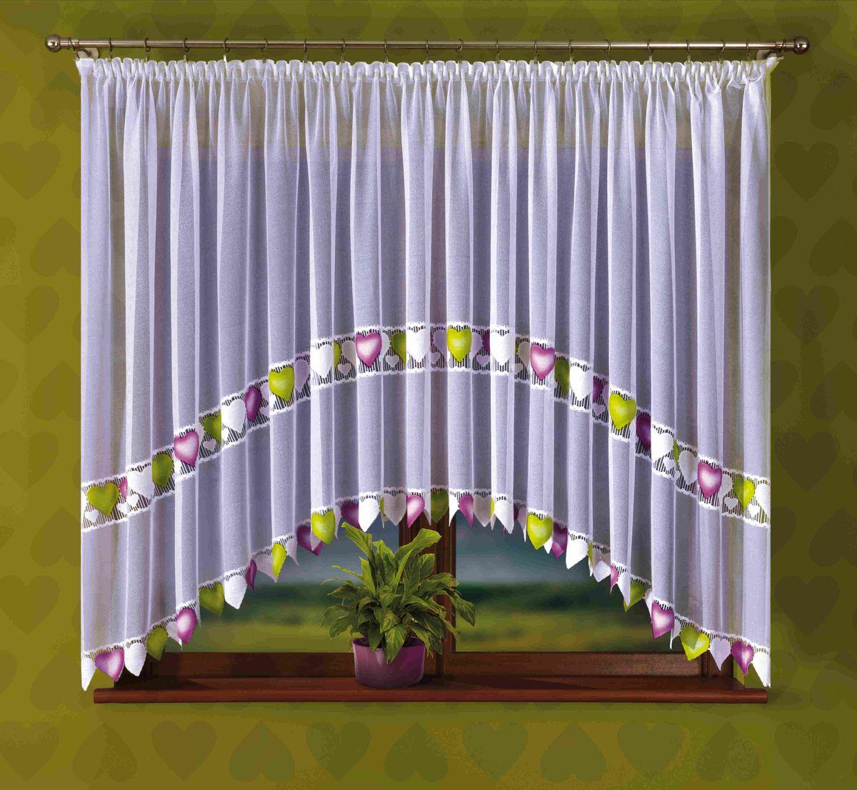 Гардина Wisan Serenada, на ленте, цвет: белый, высота 170 смS03301004Воздушная гардина Wisan Serenada, изготовленная из полиэстера, станет великолепным украшением любого окна. Изделие украшено ручной раскраской в виде сердец. Оригинальное оформление гардины внесет разнообразие и подарит заряд положительного настроения.Гардина оснащена шторной лентой для крепления на карниз.