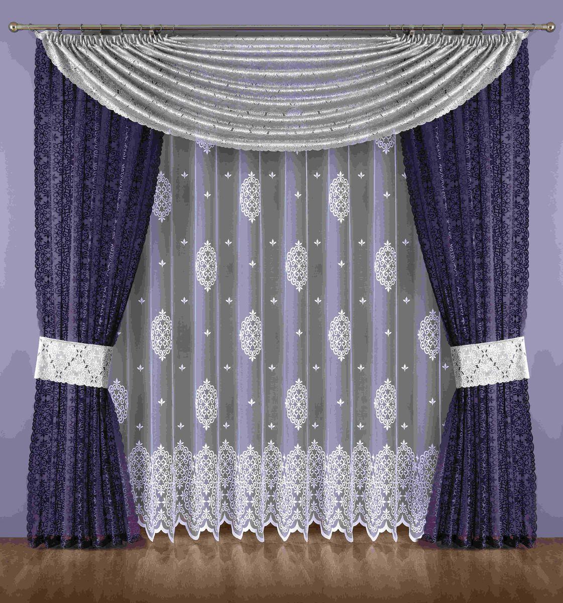 Комплект штор Wisan Maryna, на ленте, цвет: белый, серый, фиолетовый, высота 250 смSVC-300Комплект штор Wisan Maryna выполненный из полиэстера, великолепно украсит любое окно. В комплект входят 2 шторы, тюль, ламбрекен и 2 подхвата. Кружевной орнамент придает комплекту особый стиль и шарм. Тонкое плетение, нежная цветовая гамма и роскошное исполнение - все это делает шторы Wisan Maryna замечательным дополнением интерьера помещения.Комплект оснащен шторной лентой для красивой сборки. В комплект входит: Штора - 2 шт. Размер (ШхВ): 145 см х 250 см.Тюль - 1 шт. Размер (ШхВ): 400 см х 250 см. Ламбрекен - 1 шт. Размер (ШхВ): 300 см х 150 см. Подхват - 2 шт.Фирма Wisan на польском рынке существует уже более пятидесяти лет и является одной из лучших польских фабрик по производству штор и тканей. Ассортимент фирмы представлен готовыми комплектами штор для гостиной, детской, кухни, а также текстилем для кухни (скатерти, салфетки, дорожки, кухонные занавески). Модельный ряд отличает оригинальный дизайн, высокое качество. Ассортимент продукции постоянно пополняется.