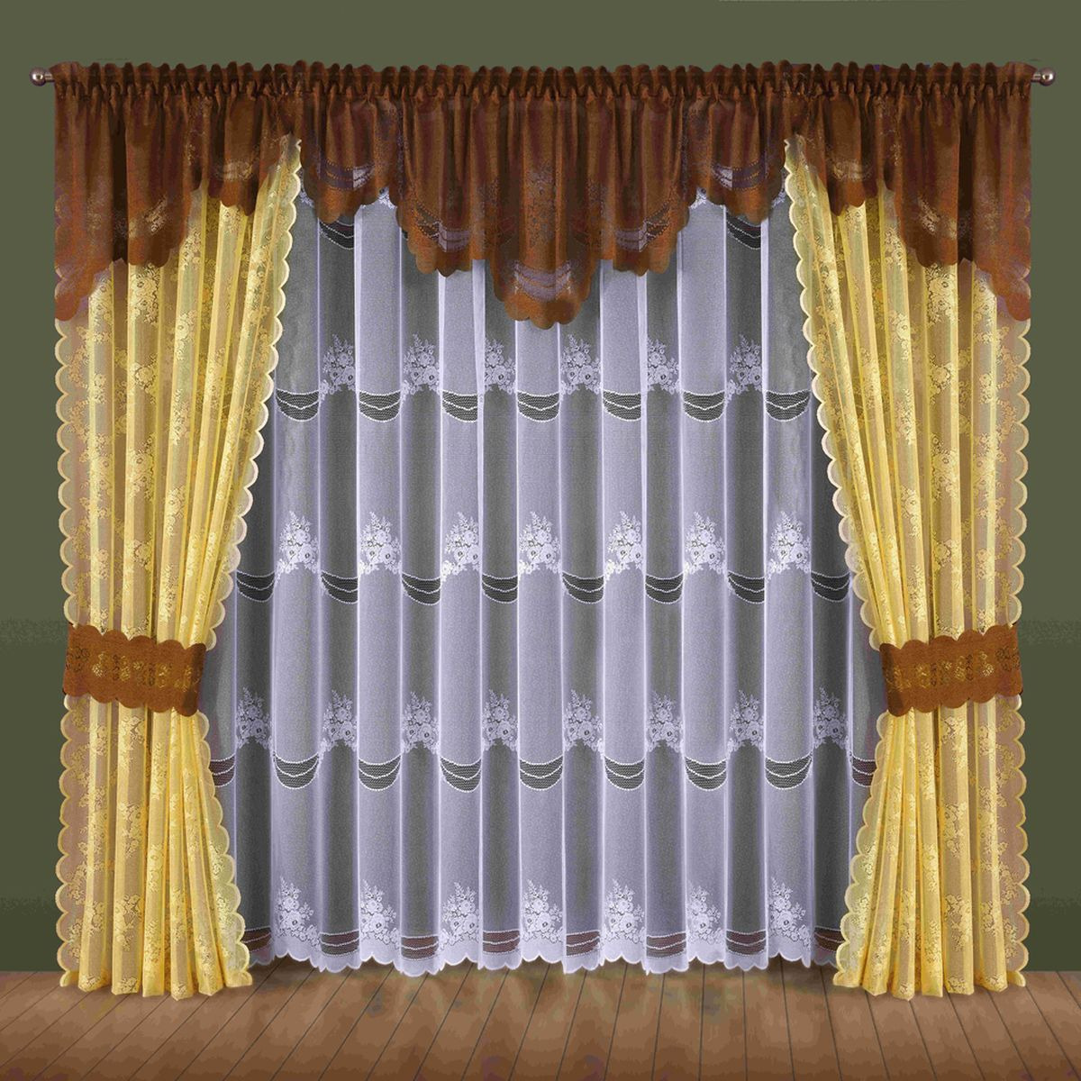 Комплект штор Wisan Nadzieja, на ленте, цвет: желтый, коричневый, высота 250 смС10250-W260V4Комплект штор Wisan Nadzieja выполненный из полиэстера, великолепно украсит любое окно. В комплект входят 2 шторы, тюль, ламбрекен и 2 подхвата. Интересный крой и нежный узор придают комплекту особый стиль и шарм. Тонкое плетение, нежная цветовая гамма и роскошное исполнение - все это делает шторы Wisan Nadzieja замечательным дополнением интерьера помещения.Комплект оснащен шторной лентой для красивой сборки. В комплект входит: Штора - 2 шт. Размер (ШхВ): 145 см х 250 см. Тюль - 1 шт. Размер (ШхВ): 400 см х 250 см. Ламбрекен - 1 шт. Размер (ШхВ): 440 см х 70 см. Подхват - 2 шт.Фирма Wisan на польском рынке существует уже более пятидесяти лет и является одной из лучших польских фабрик по производству штор и тканей. Ассортимент фирмы представлен готовыми комплектами штор для гостиной, детской, кухни, а также текстилем для кухни (скатерти, салфетки, дорожки, кухонные занавески). Модельный ряд отличает оригинальный дизайн, высокое качество. Ассортимент продукции постоянно пополняется.
