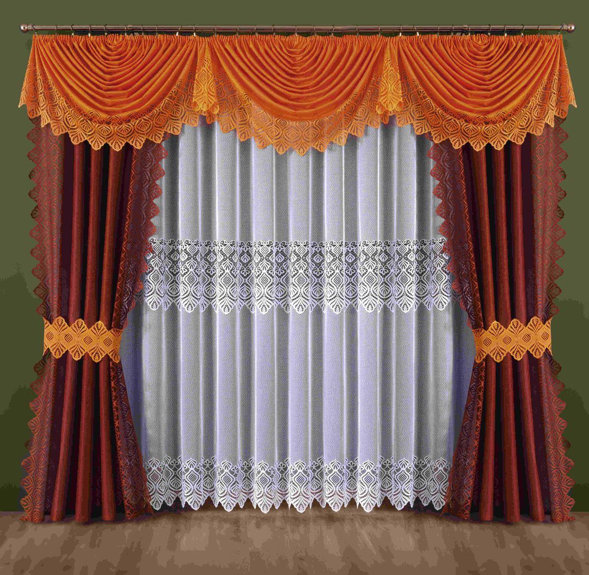 Комплект штор Wisan Mira, на ленте, цвет: оранжевый, бордовый, высота 250 смSVC-300Комплект штор Wisan Mira выполненный из полиэстера, великолепно украсит любое окно. В комплект входят 2 шторы, тюль, ламбрекен и 2 подхвата.Интересный крой, и нежный узор придают комплекту особый стиль и шарм. Тонкое плетение, нежная цветовая гамма и роскошное исполнение - все это делает шторы Wisan Mira замечательным дополнением интерьера помещения.Комплект оснащен шторной лентой для красивой сборки. В комплект входит: Штора - 2 шт. Размер (ШхВ): 145 см х 250 см. Тюль - 1 шт. Размер (ШхВ): 400 см х 250 см. Ламбрекен - 1 шт. Размер (ШхВ): 440 см х 145 см. Подхват - 2 шт.Фирма Wisan на польском рынке существует уже более пятидесяти лет и является одной из лучших польских фабрик по производству штор и тканей. Ассортимент фирмы представлен готовыми комплектами штор для гостиной, детской, кухни, а также текстилем для кухни (скатерти, салфетки, дорожки, кухонные занавески). Модельный ряд отличает оригинальный дизайн, высокое качество. Ассортимент продукции постоянно пополняется.