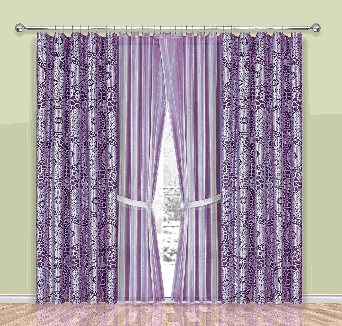 Комплект штор Wisan Sasza, на ленте, цвет: лиловый, высота 250 смK100Комплект штор Wisan Sasza выполненный из полиэстера, великолепно украсит любое окно. В комплект входят 2 шторы, тюль и 2 подхвата.Интересный крой, и цветочный узор придают комплекту особый стиль и шарм. Тонкое плетение, нежная цветовая гамма и роскошное исполнение - все это делает шторы Wisan Sasza замечательным дополнением интерьера помещения.Комплект оснащен шторной лентой для красивой сборки. В комплект входит: Штора - 2 шт. Размер (ШхВ): 150 см х 250 см. Тюль - 2 шт. Размер (ШхВ): 250 см х 250 см. Подхват - 2 шт.Фирма Wisan на польском рынке существует уже более пятидесяти лет и является одной из лучших польских фабрик по производству штор и тканей. Ассортимент фирмы представлен готовыми комплектами штор для гостиной, детской, кухни, а также текстилем для кухни (скатерти, салфетки, дорожки, кухонные занавески). Модельный ряд отличает оригинальный дизайн, высокое качество. Ассортимент продукции постоянно пополняется.