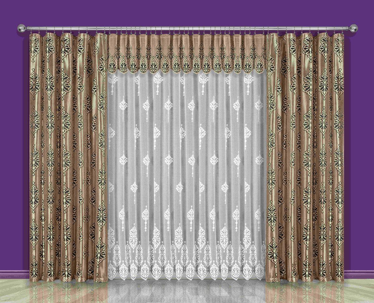 Комплект штор Wisan Konstancja, на ленте, цвет: коричневый, золотой, белый, высота 250 смSVC-300Комплект штор Wisan Konstancja выполненный из полиэстера, великолепно украсит любое окно. Тонкое плетение, оригинальный дизайн привлекут к себе внимание и органично впишутся в интерьер. В комплект входят 2 шторы, тюль и ламбрекен. Кружевной узор придает комплекту особый стиль и шарм. Тонкое жаккардовое плетение, нежная цветовая гамма и роскошное исполнение - все это делает шторы Wisan Konstancja замечательным дополнением интерьера помещения. Комплект оснащен шторной лентой для красивой сборки. В комплект входит: Штора - 2 шт. Размер (ШхВ): 150 см х 250 см. Тюль - 1 шт. Размер (ШхВ): 400 см х 250 см. Ламбрекен - 1 шт. Размер (ШхВ): 500 см х 50 см.Фирма Wisan на польском рынке существует уже более пятидесяти лет и является одной из лучших польских фабрик по производству штор и тканей. Ассортимент фирмы представлен готовыми комплектами штор для гостиной, детской, кухни, а также текстилем для кухни (скатерти, салфетки, дорожки, кухонные занавески). Модельный ряд отличает оригинальный дизайн, высокое качество. Ассортимент продукции постоянно пополняется.