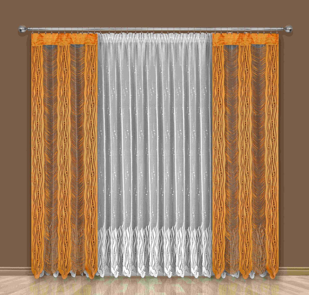 Комплект штор Wisan Alba, на ленте, цвет: белый, оранжевый, высота 250 смSVC-300Комплект штор Wisan Alba выполненный из полиэстера, великолепно украсит любое окно. В комплект входят 2 шторы и тюль.Оригинальный дизайн и бахрома придают комплекту особый стиль и шарм. Качественное плетение, нежная цветовая гамма и роскошное исполнение - все это делает шторы Wisan Alba замечательным дополнением интерьера помещения.Комплект оснащен шторной лентой для красивой сборки. В комплект входит: Штора - 2 шт. Размер (ШхВ): 100 см х 250 см.Тюль - 1 шт. Размер (ШхВ): 400 см х 250 см.Фирма Wisan на польском рынке существует уже более пятидесяти лет и является одной из лучших польских фабрик по производству штор и тканей. Ассортимент фирмы представлен готовыми комплектами штор для гостиной, детской, кухни, а также текстилем для кухни (скатерти, салфетки, дорожки, кухонные занавески). Модельный ряд отличает оригинальный дизайн, высокое качество. Ассортимент продукции постоянно пополняется.