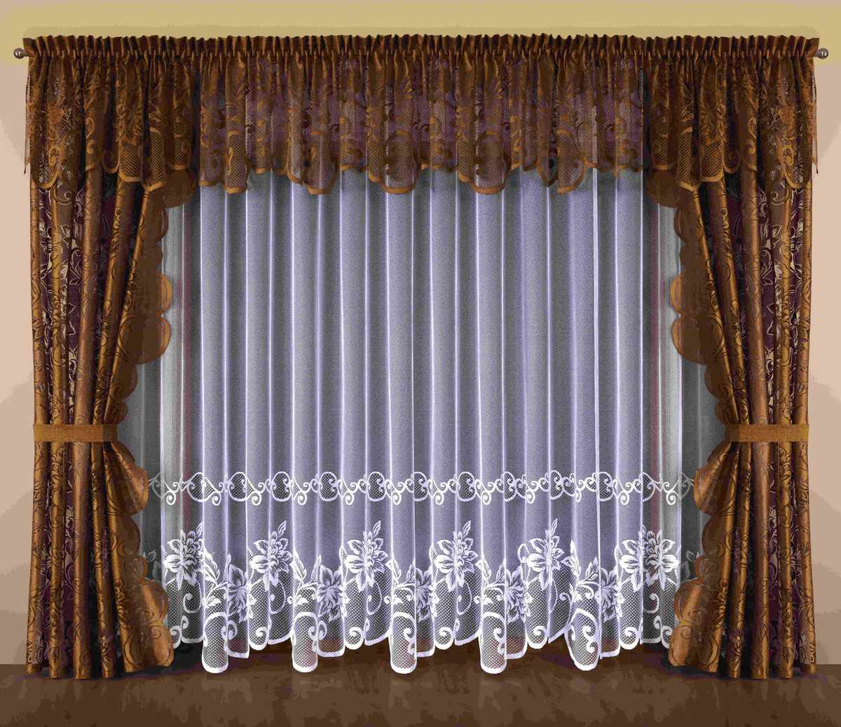 Комплект штор Wisan Kalista, на ленте, цвет: белый, коричневый, высота 250 см64886Комплект штор Wisan Kalista выполненный из полиэстера, великолепно украсит любое окно. В комплект входят 2 шторы, тюль, ламбрекен и 2 подхвата.Интересный крой и цветочный узор придают комплекту особый стиль и шарм. Тонкое плетение, нежная цветовая гамма и роскошное исполнение - все это делает шторы Wisan Kalista замечательным дополнением интерьера помещения.Комплект оснащен шторной лентой для красивой сборки. В комплект входит: Штора - 2 шт. Размер (ШхВ): 145 см х 250 см. Тюль - 1 шт. Размер (ШхВ): 500 см х 250 см. Ламбрекен - 1 шт. Размер (ШхВ): 500 см х 70 см. Подхват - 2 шт.Фирма Wisan на польском рынке существует уже более пятидесяти лет и является одной из лучших польских фабрик по производству штор и тканей. Ассортимент фирмы представлен готовыми комплектами штор для гостиной, детской, кухни, а также текстилем для кухни (скатерти, салфетки, дорожки, кухонные занавески). Модельный ряд отличает оригинальный дизайн, высокое качество. Ассортимент продукции постоянно пополняется.