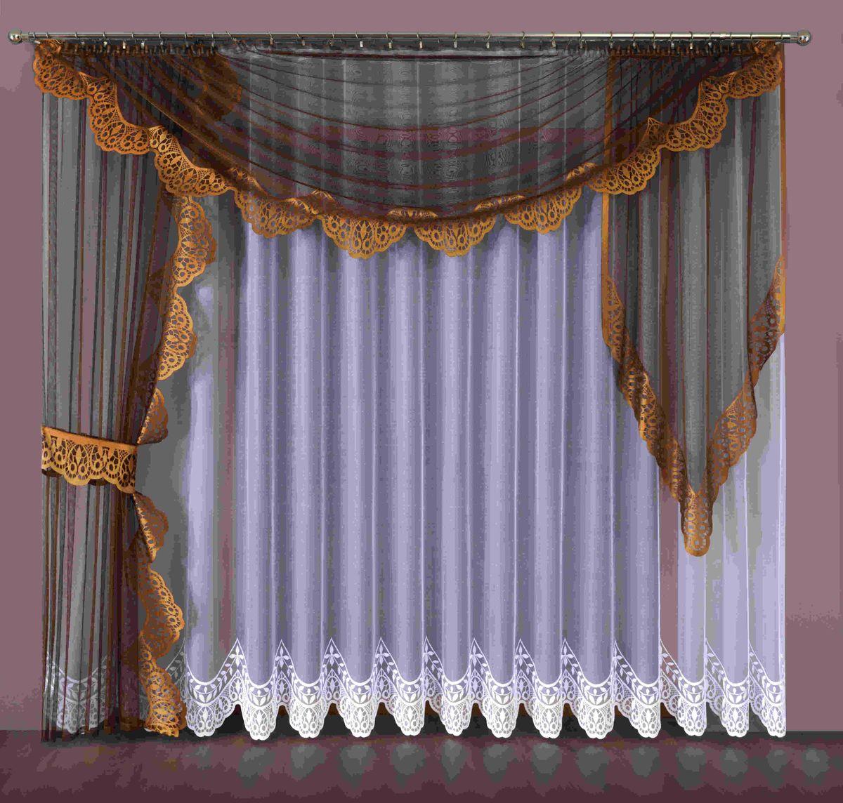 Комплект штор Wisan Aspazja, на ленте, цвет: белый, коричневый, высота 250 смSVC-300Комплект штор Wisan Aspazja выполненный из полиэстера, великолепно украсит любое окно. В комплект входят 2 шторы, тюль, ламбрекен и 2 подхвата. Интересный крой придает комплекту особый стиль и шарм. Тонкое плетение, нежная цветовая гамма и роскошное исполнение - все это делает шторы Wisan Aspazja замечательным дополнением интерьера помещения.Комплект оснащен шторной лентой для красивой сборки. В комплект входит: Штора - 1 шт. Размер (ШхВ): 145 см х 250 см. Штора - 1 шт. Размер (ШхВ): 100 см х 90 см. Тюль - 1 шт. Размер (ШхВ): 400 см х 250 см. Ламбрекен - 1 шт. Размер (ШхВ): 330 см х 145 см. Подхват - 1 шт.Фирма Wisan на польском рынке существует уже более пятидесяти лет и является одной из лучших польских фабрик по производству штор и тканей. Ассортимент фирмы представлен готовыми комплектами штор для гостиной, детской, кухни, а также текстилем для кухни (скатерти, салфетки, дорожки, кухонные занавески). Модельный ряд отличает оригинальный дизайн, высокое качество. Ассортимент продукции постоянно пополняется.