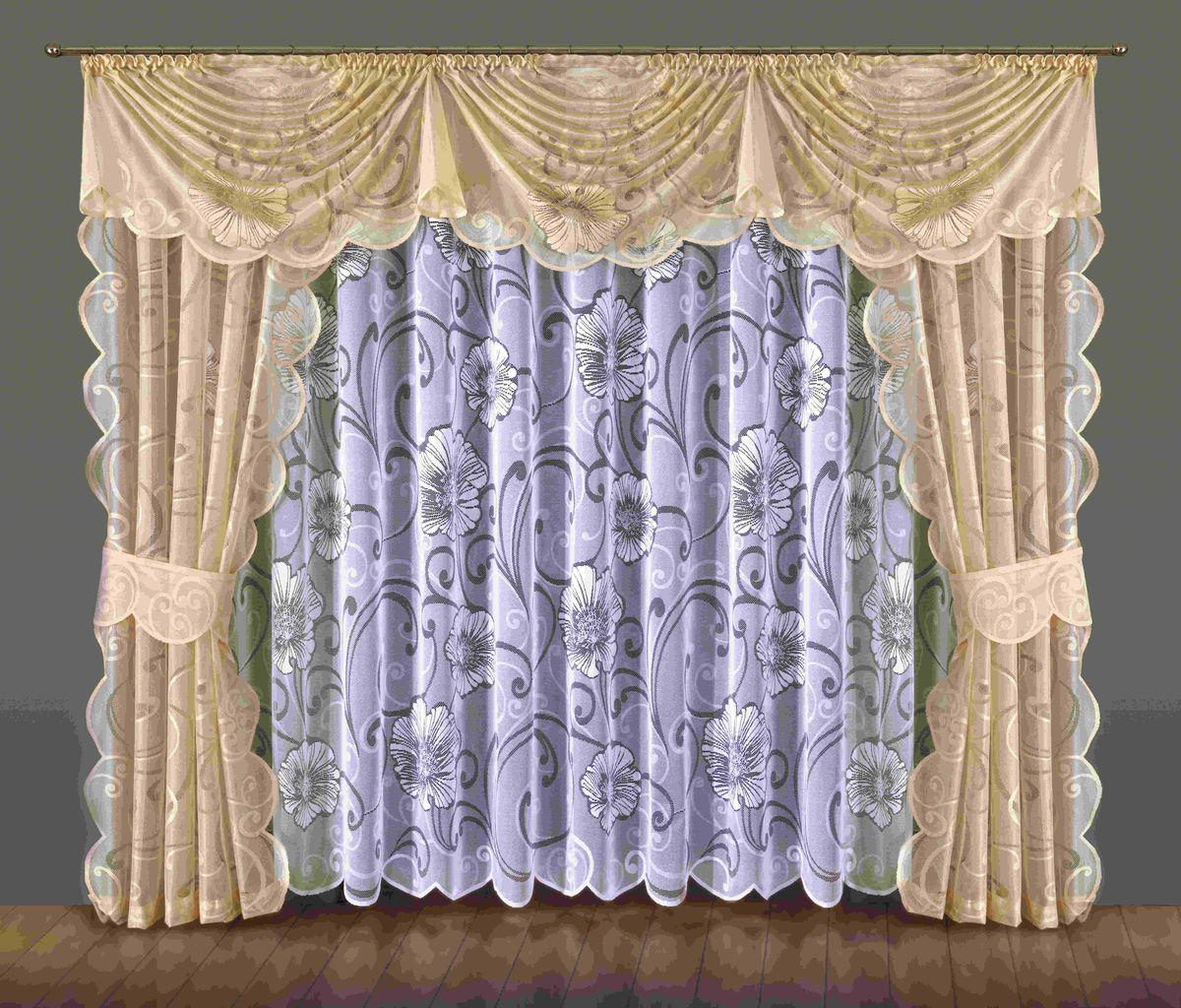 Комплект штор Wisan Bonita, на ленте, цвет: белый, бежевый, высота 250 смUN111457620Комплект штор Wisan Bonita выполненный из полиэстера, великолепно украсит любое окно. В комплект входят 2 шторы, тюль, ламбрекен и 2 подхвата. Цветочный орнамент придает комплекту особый стиль и шарм. Тонкое плетение, нежная цветовая гамма и роскошное исполнение - все это делает шторы Wisan Bonita замечательным дополнением интерьера помещения.Комплект оснащен шторной лентой для красивой сборки. В комплект входит: Штора - 2 шт. Размер (ШхВ): 145 см х 250 см.Тюль - 1 шт. Размер (ШхВ): 400 см х 250 см. Ламбрекен - 1 шт. Размер (ШхВ): 360 см х 60 см. Подхват - 2 шт.Фирма Wisan на польском рынке существует уже более пятидесяти лет и является одной из лучших польских фабрик по производству штор и тканей. Ассортимент фирмы представлен готовыми комплектами штор для гостиной, детской, кухни, а также текстилем для кухни (скатерти, салфетки, дорожки, кухонные занавески). Модельный ряд отличает оригинальный дизайн, высокое качество. Ассортимент продукции постоянно пополняется.