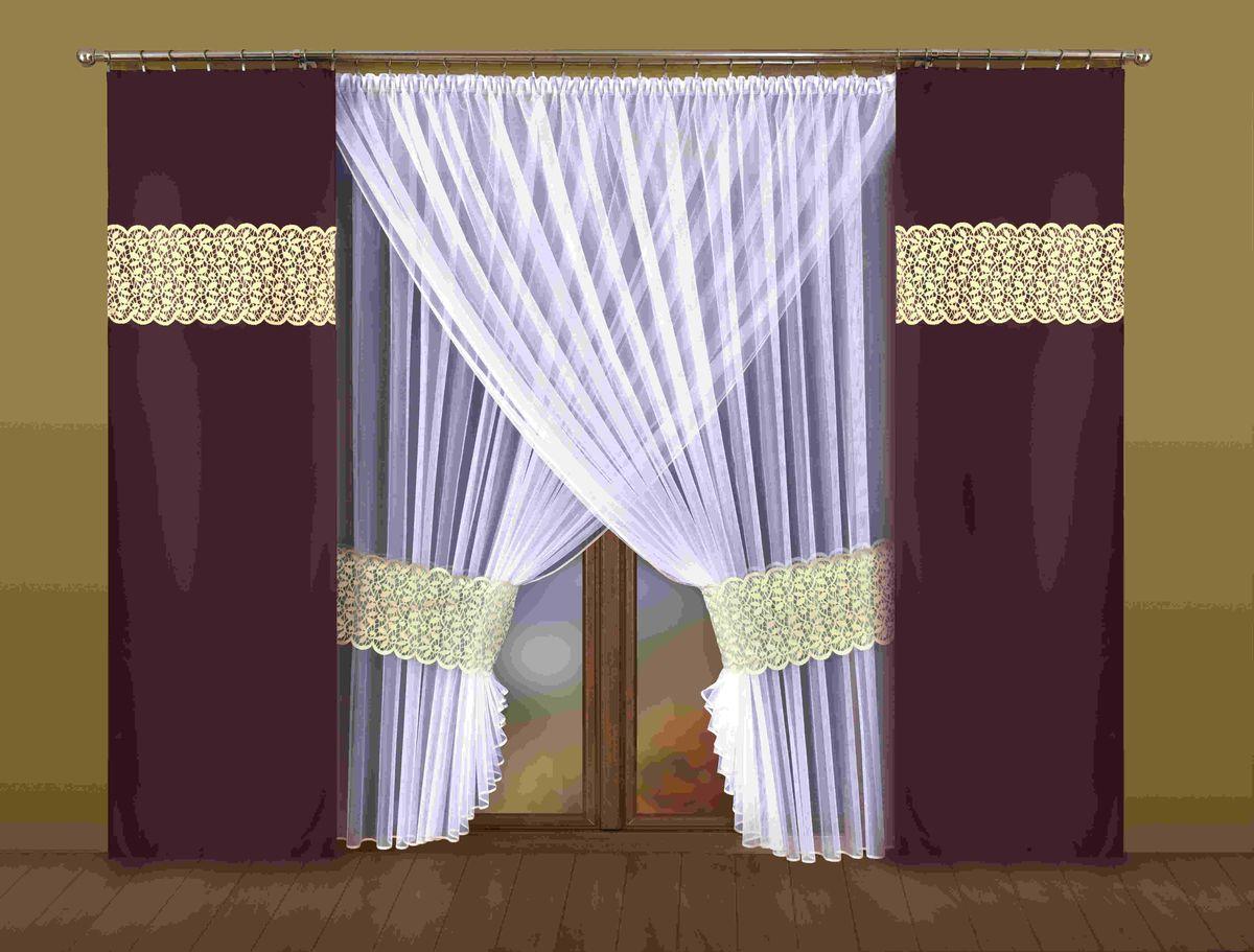 Комплект штор Wisan Euzebia, на ленте, цвет: белый, темно-коричневый, высота 250 смС5314-W1687V1Комплект штор Wisan Euzebia выполненный из полиэстера, великолепно украсит любое окно. В комплект входят 2 плотные шторы, тюль и 2 подхвата.Оригинальный дизайн придает комплекту особый стиль и шарм. Качественный материал и тонкое плетение, нежная цветовая гамма и роскошное исполнение - все это делает шторы Wisan Euzebia замечательным дополнением интерьера помещения.Комплект оснащен шторной лентой для красивой сборки. В комплект входит: Тюль - 1 шт. Размер (ШхВ): 400 см х 250 см.Штора - 2 шт. Размер (ШхВ): 70 см х 250 см.Подхват - 2 шт. Фирма Wisan на польском рынке существует уже более пятидесяти лет и является одной из лучших польских фабрик по производству штор и тканей. Ассортимент фирмы представлен готовыми комплектами штор для гостиной, детской, кухни, а также текстилем для кухни (скатерти, салфетки, дорожки, кухонные занавески). Модельный ряд отличает оригинальный дизайн, высокое качество. Ассортимент продукции постоянно пополняется.